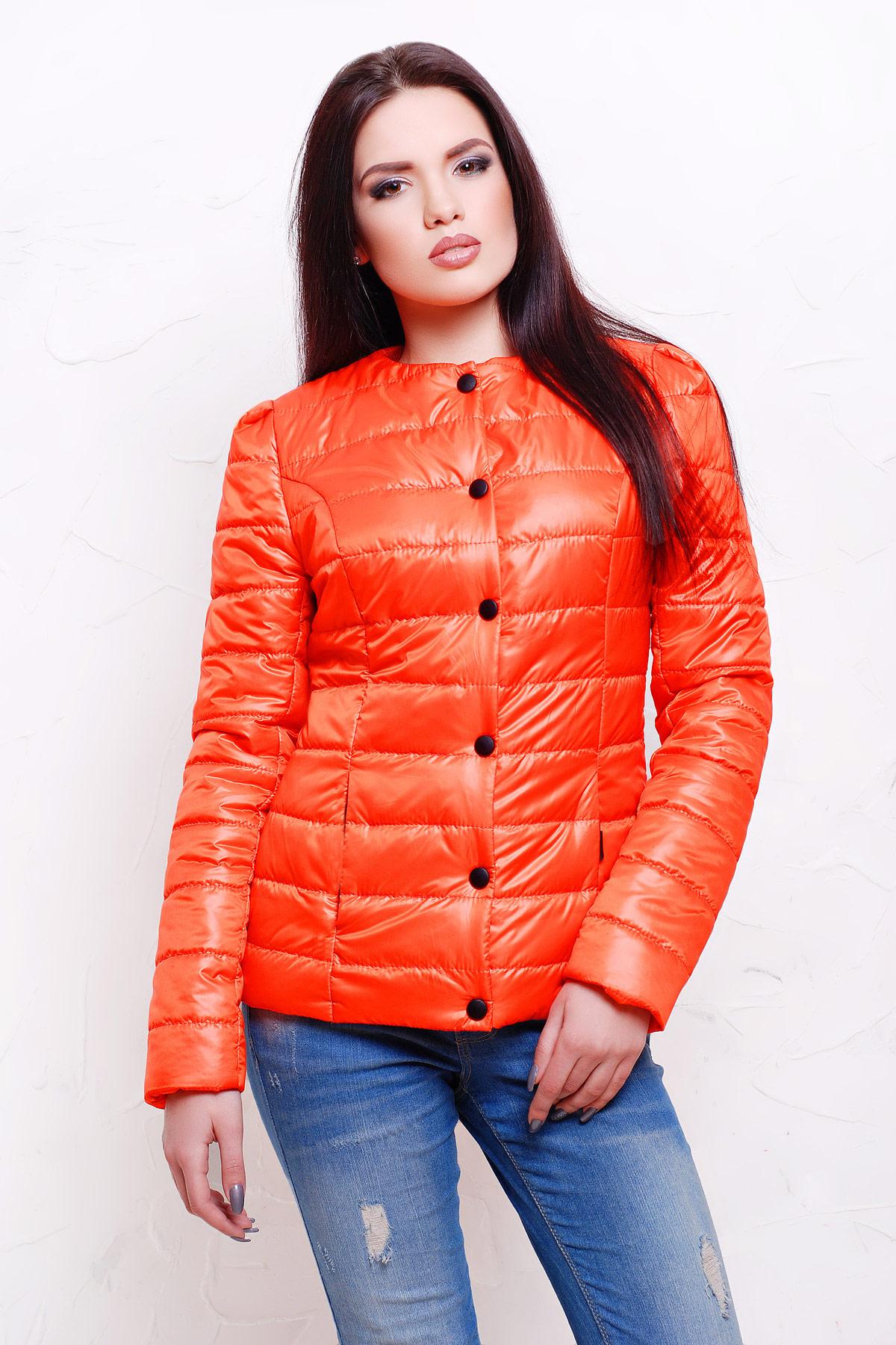 2618e4e07460 Короткая женская куртка черного цвета. куртка Квин. Цвет  оранжевый
