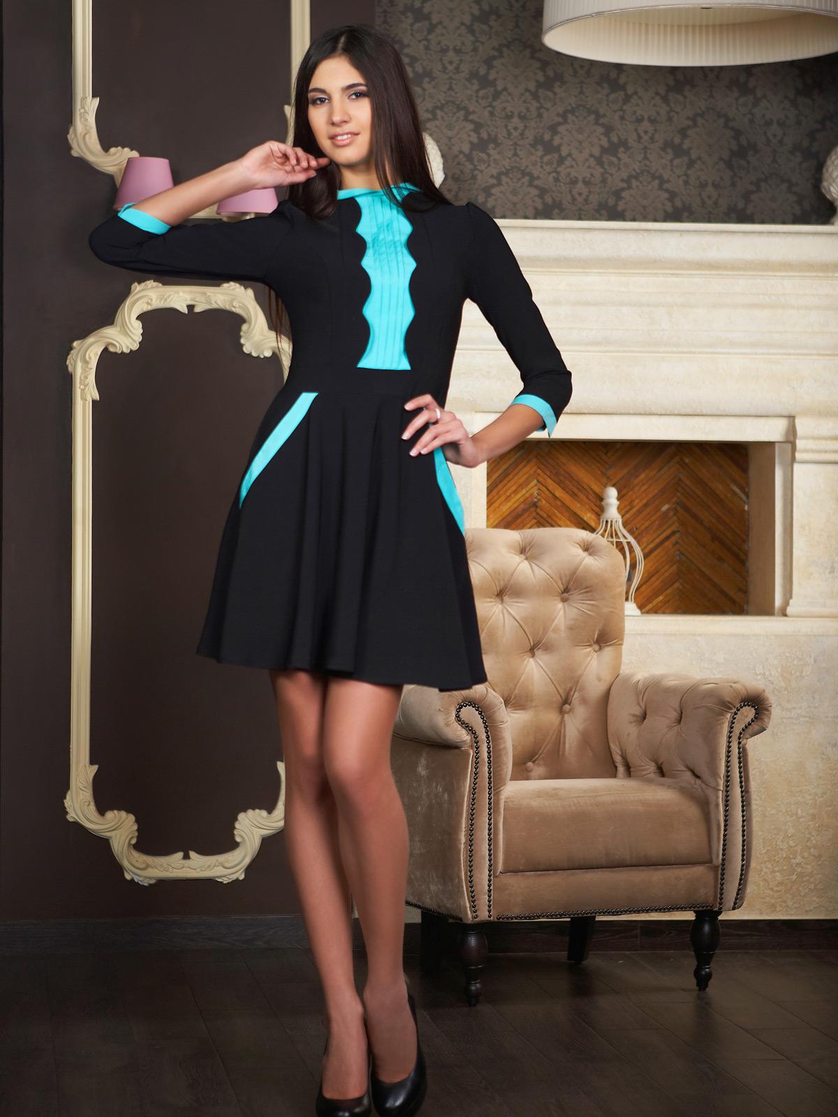 658ef5c774427c9 Платье Фелис к/р. Цвет: черный-молоко отделка - купить оптом и в ...