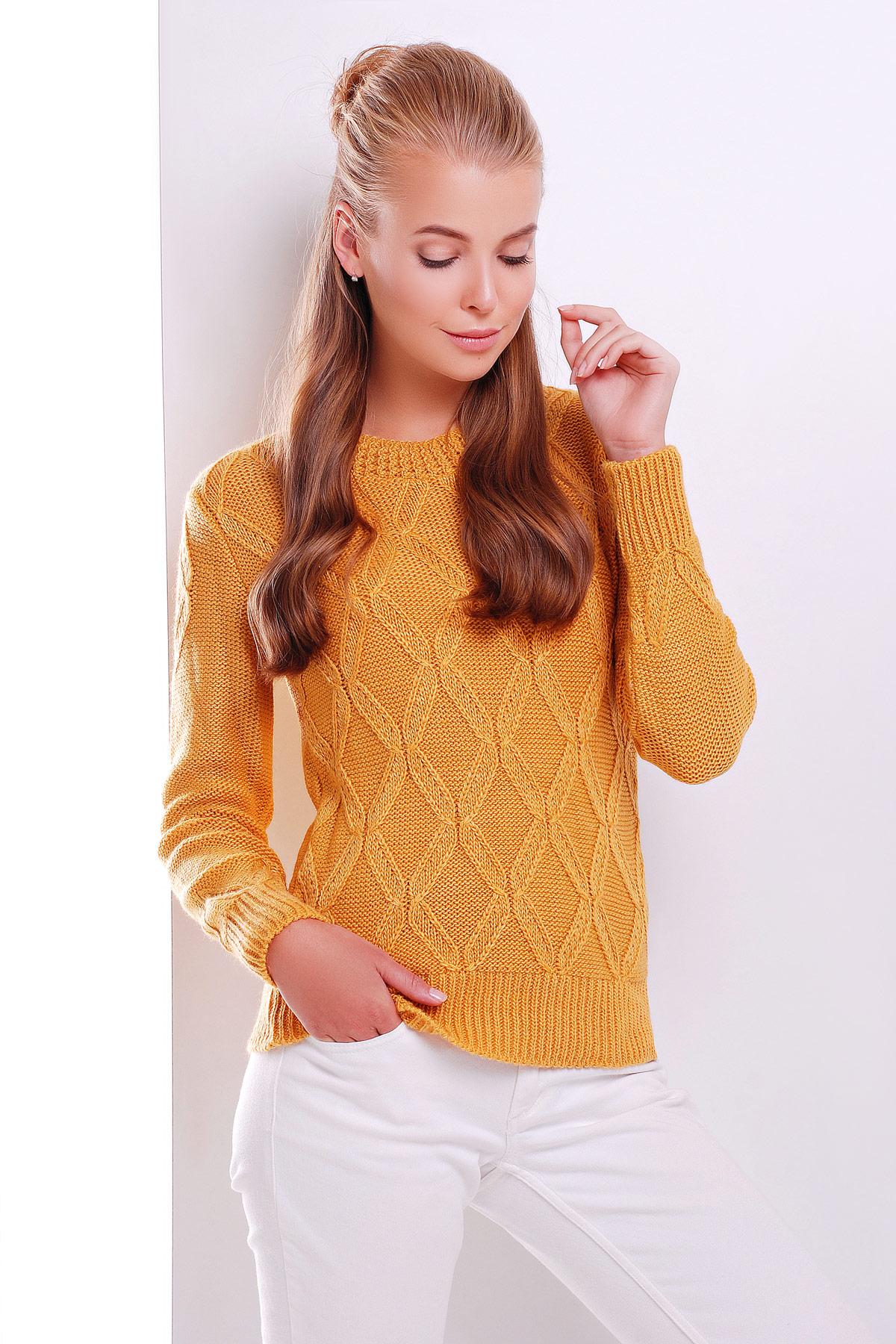 купить женский вязаный свитер цвета горчица