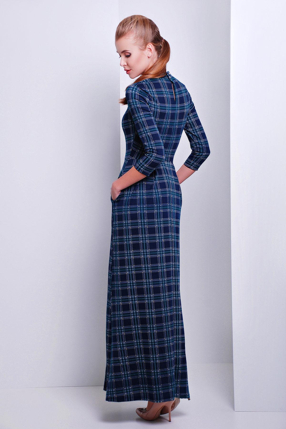 Купить Платье В Клетку Зеленое