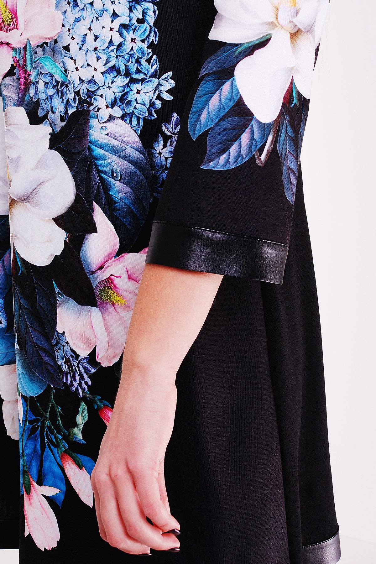 4177452f2be ... черное платье А-силуэта с цветочным принтом. Магнолии платье Тая-3ФК д