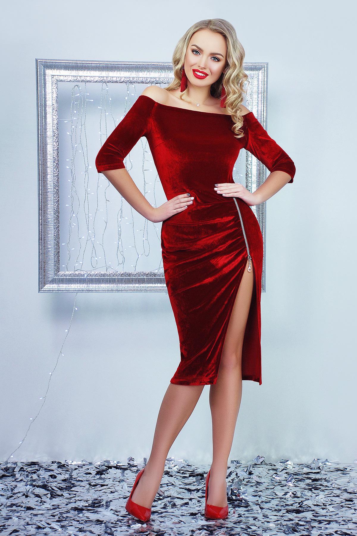 bd3db1d02d32c36 Красное платье с открытыми плечами Анатэль д/р - купить в Украине