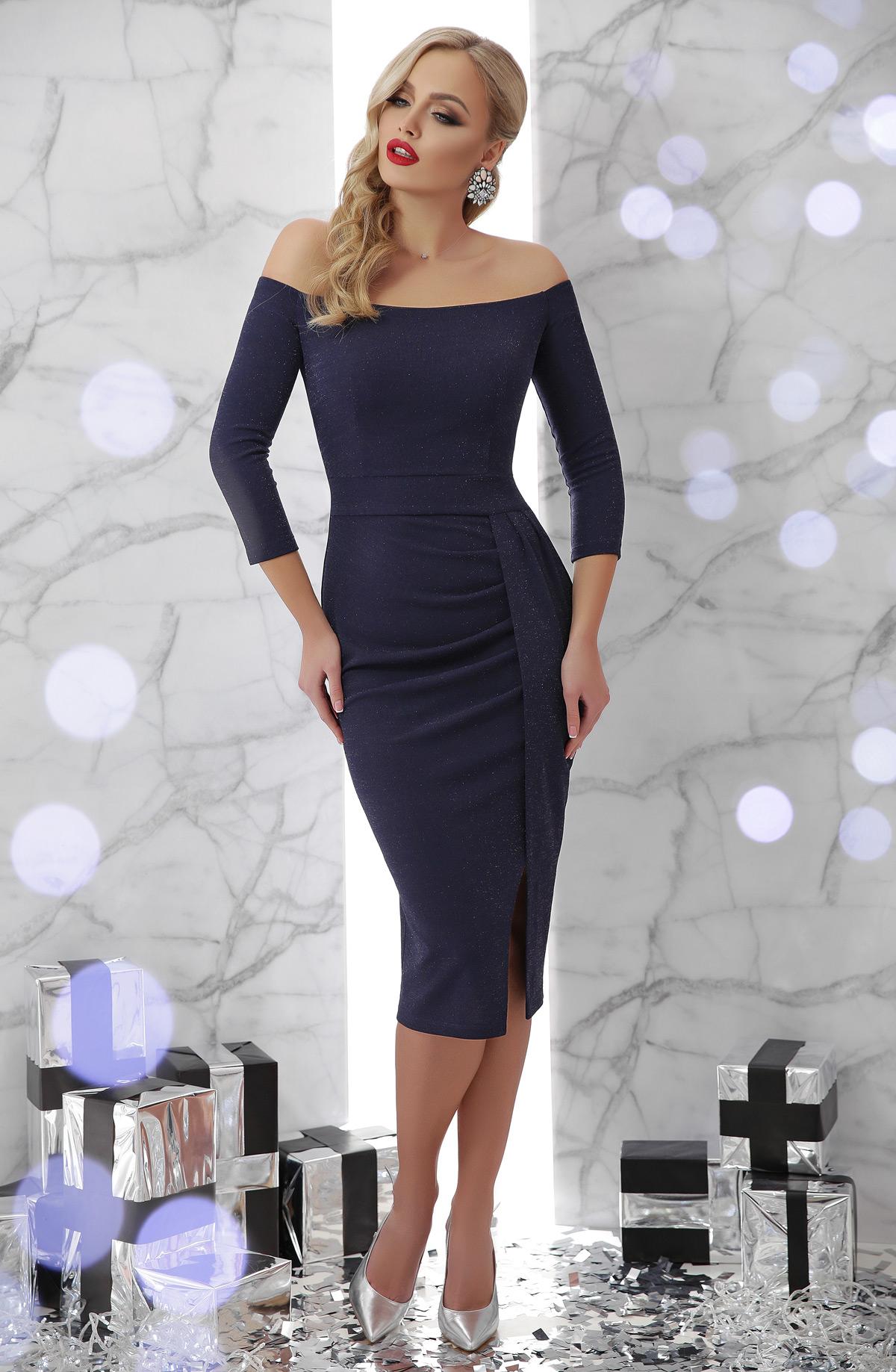349a0743128e3ef синее платье с открытыми плечами. платье Амелия д/р. Цвет: синий