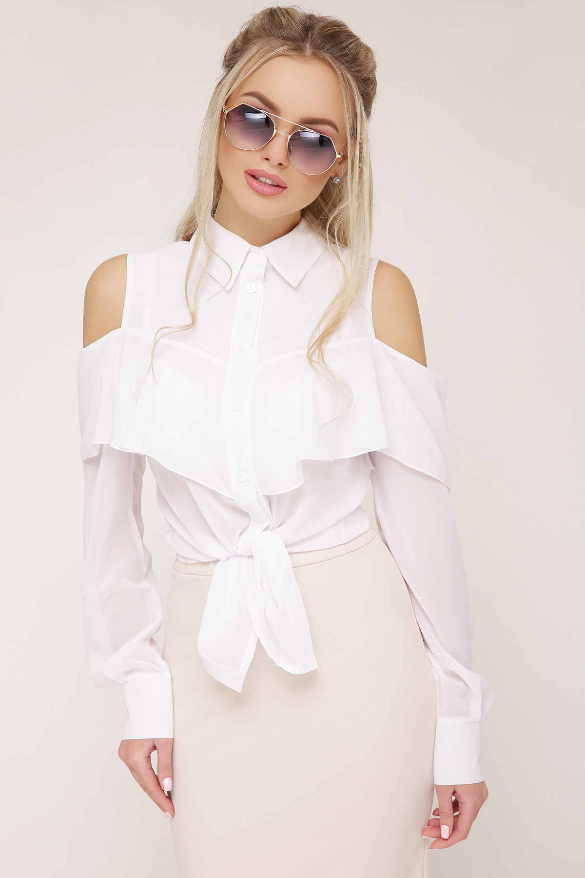380f0c6efa6 белая шифоновая блузка. блуза Джанина д р. Цвет  белый