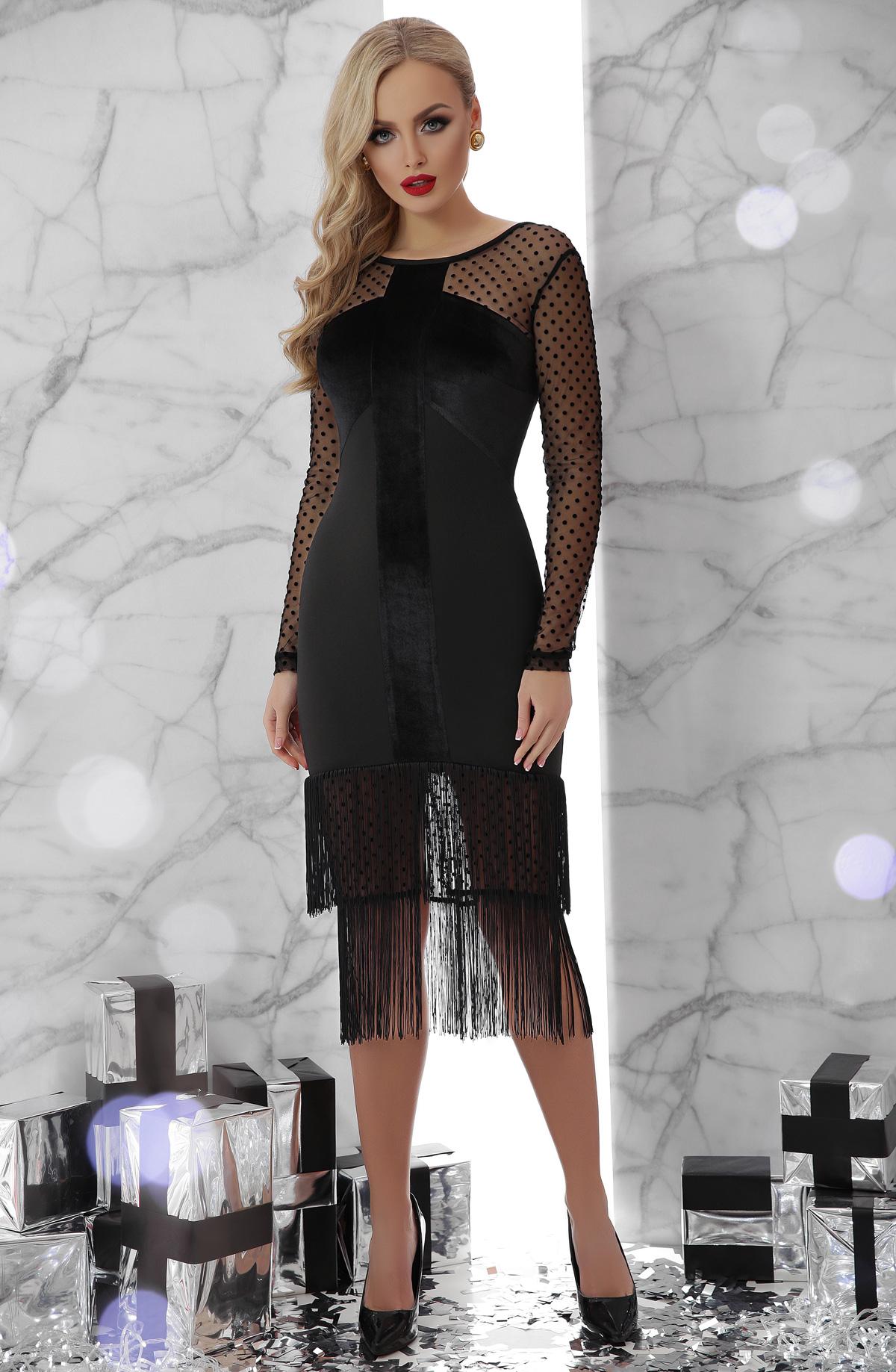 97b4ce2b664 черное платье с бахромой. платье Багира д р. Цвет  черный купить ...