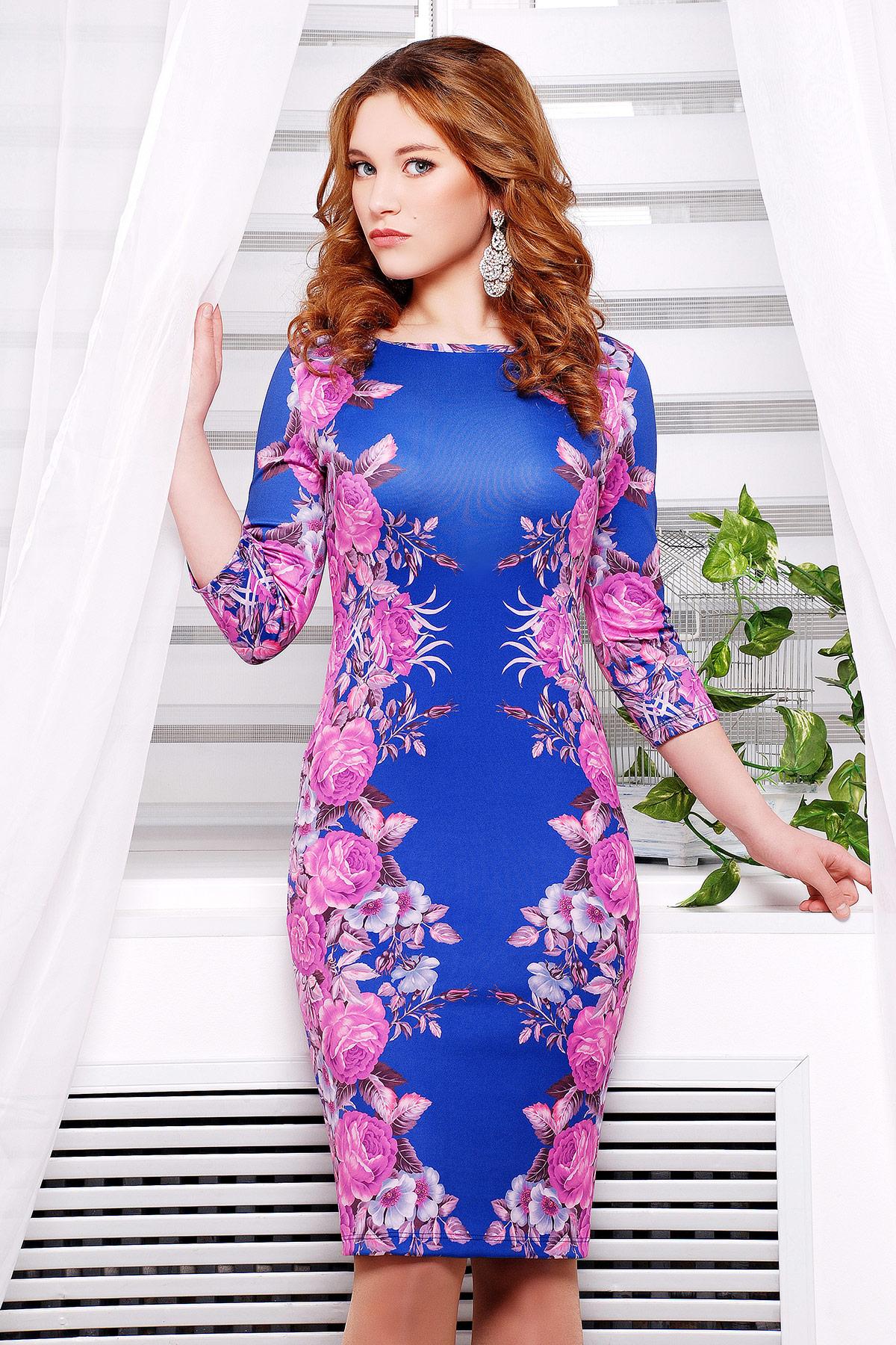 682b963f128 Фиолетовые розы №2 платье Лоя-1Ф д р. Цвет  принт - купить оптом и в ...