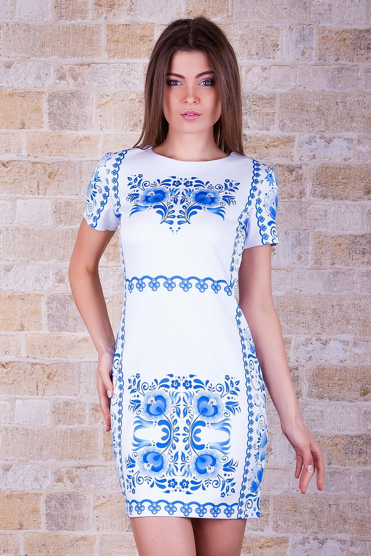 072f48b03a0b9 Гжель платье Лея-1 к/р. Цвет: принт - купить оптом и в розницу в Украине