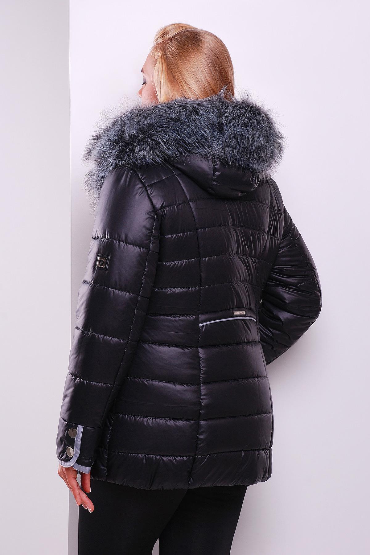 ec7a2cb5157 Черная куртка с капюшоном на меху. куртка Glem-1. Цвет  черный купить