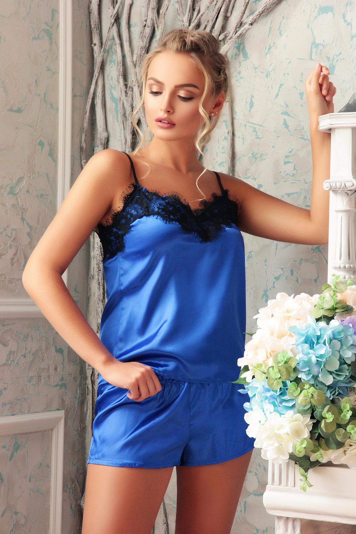 7e0f8bce6a972 женская атласная пижама. Комплект-016. Цвет: электрик-черный