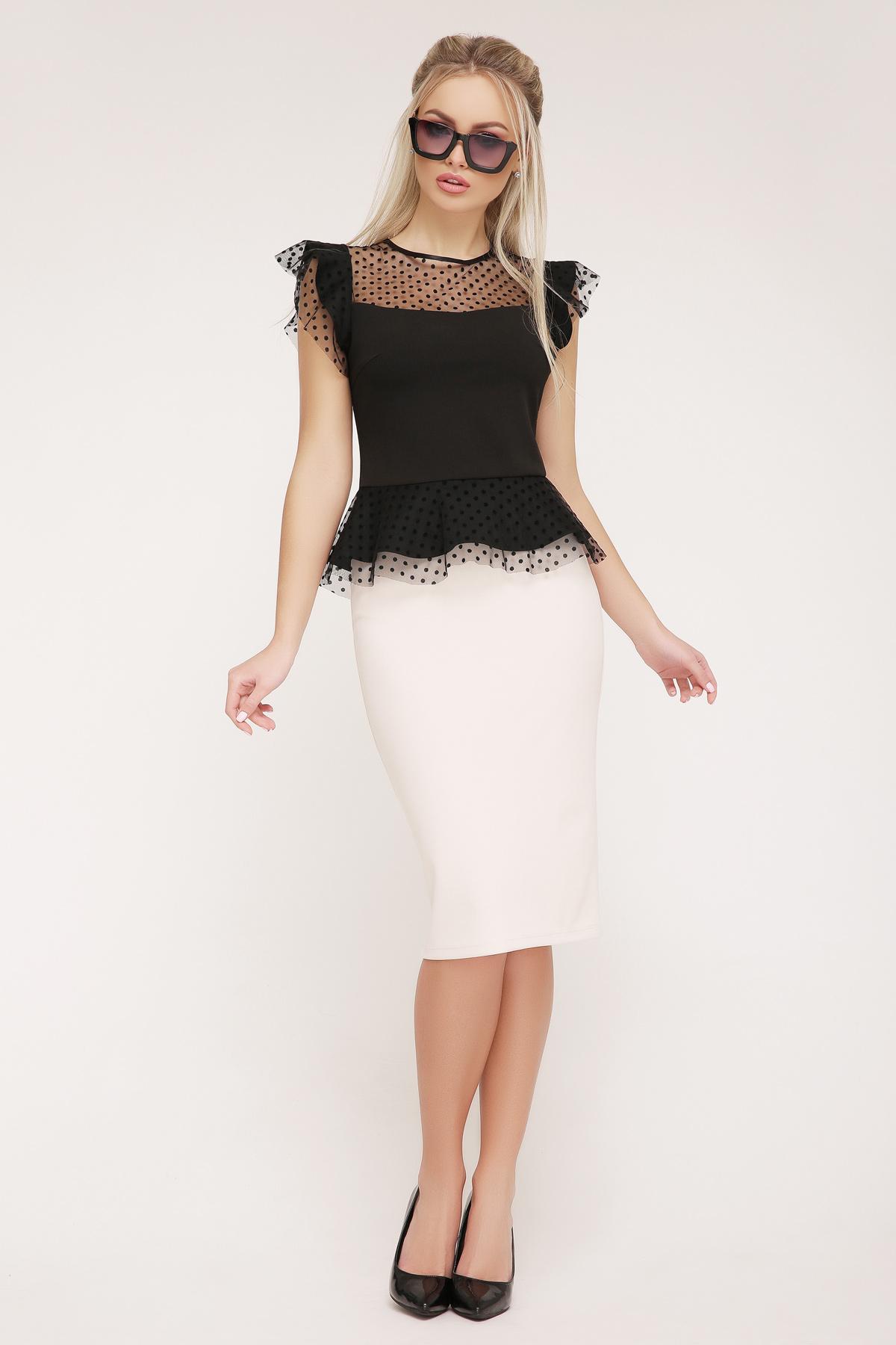 138f5bd4cb6 черная блузка с баской. блуза Лайза б р. Цвет  черный