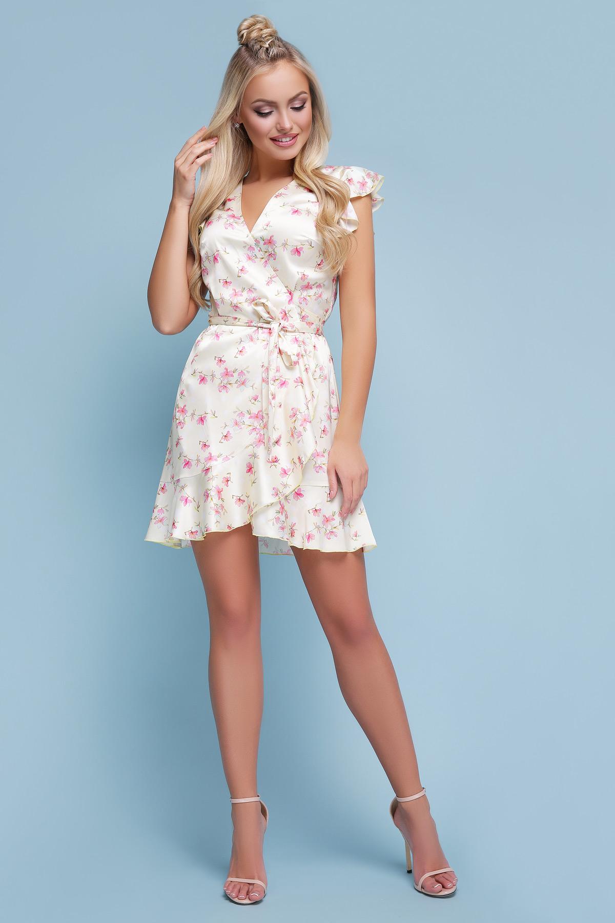49b7155fc64d5f5 цветочное платье из шелка. платье Алиса б/р. Цвет: желтый горох