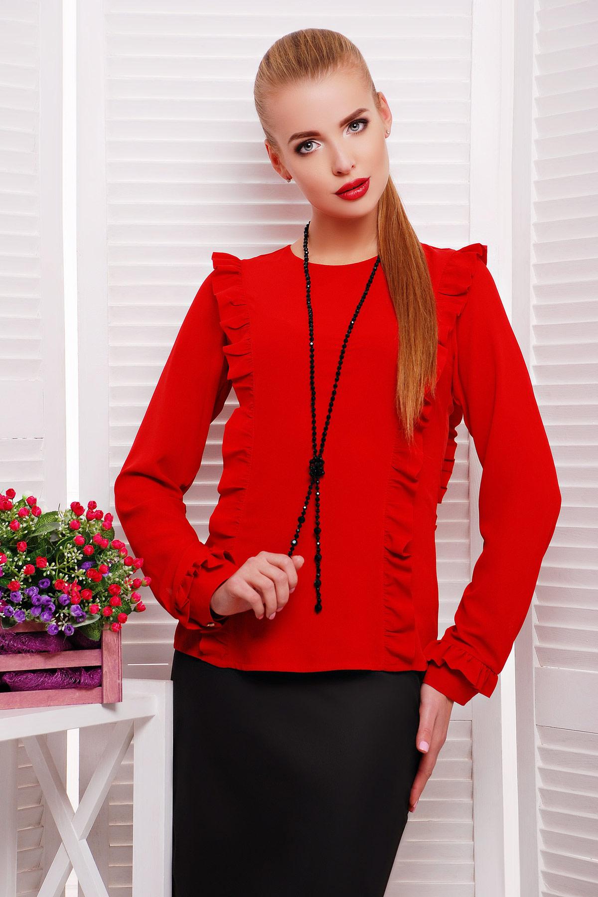 f41e274f740 красная женская шифоновая блуза с рюшами и длинным рукавом. блуза Влада д р.