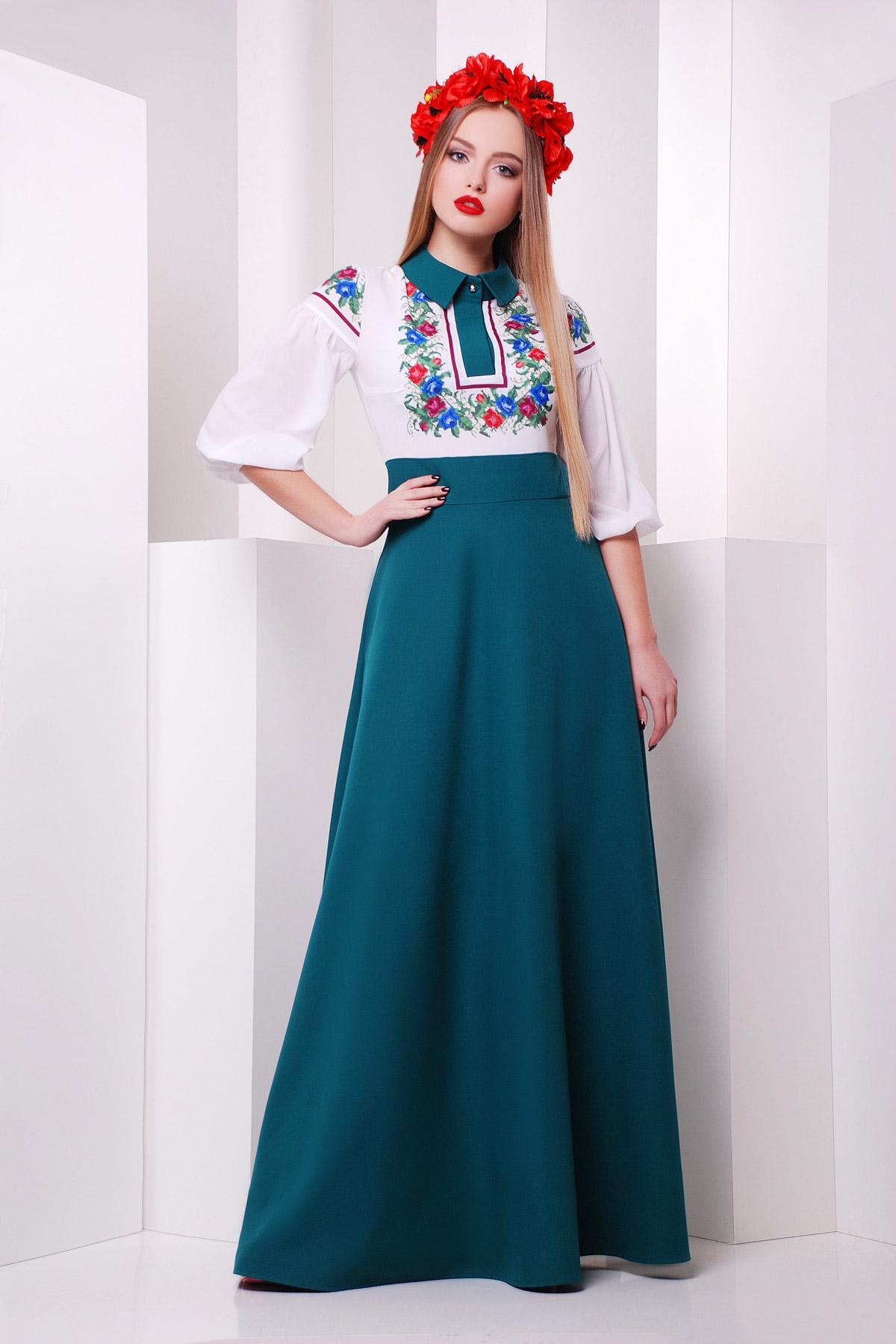 421634cc919 Длинное платье изумрудного цвета с белым верхом. Цветы платье Валенсия д р.  Цвет