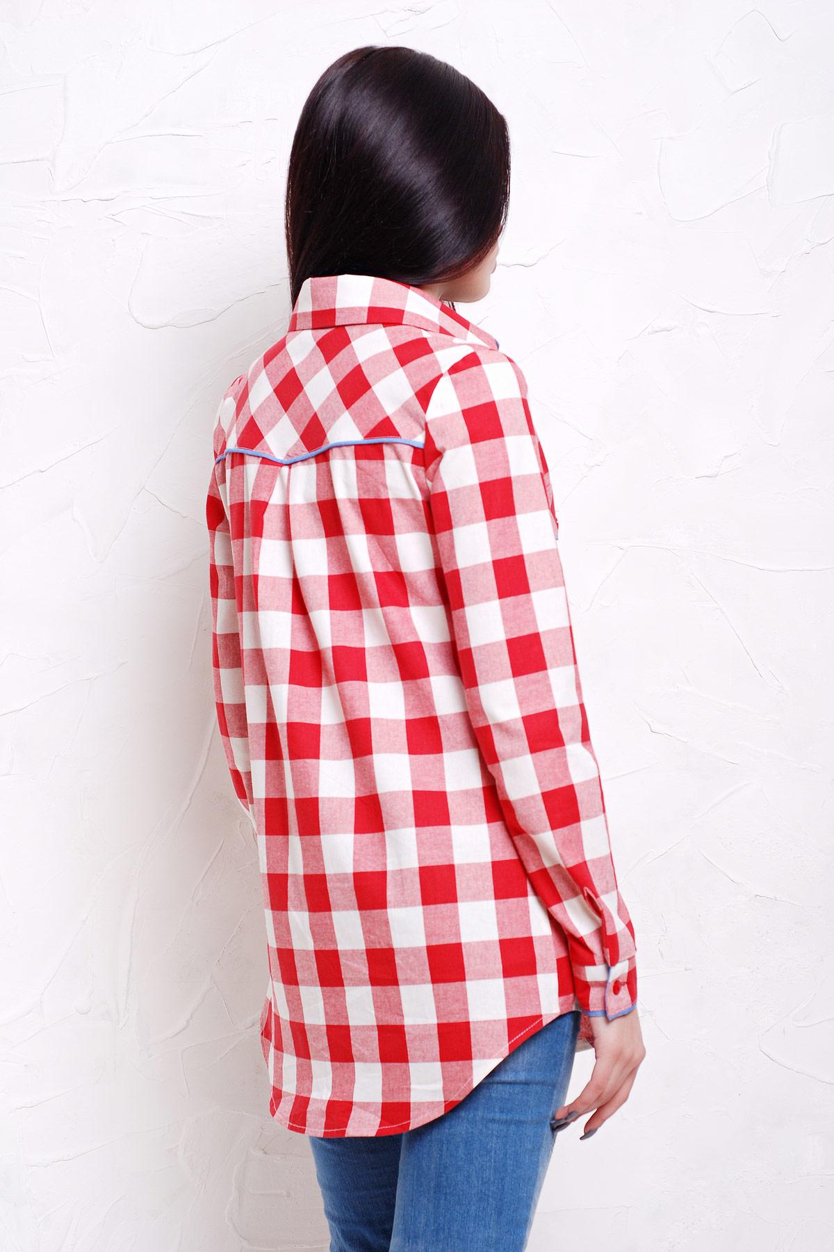 10bc5390670 женская рубашка в красно-белую клетку. блуза Канзас д р. Цвет