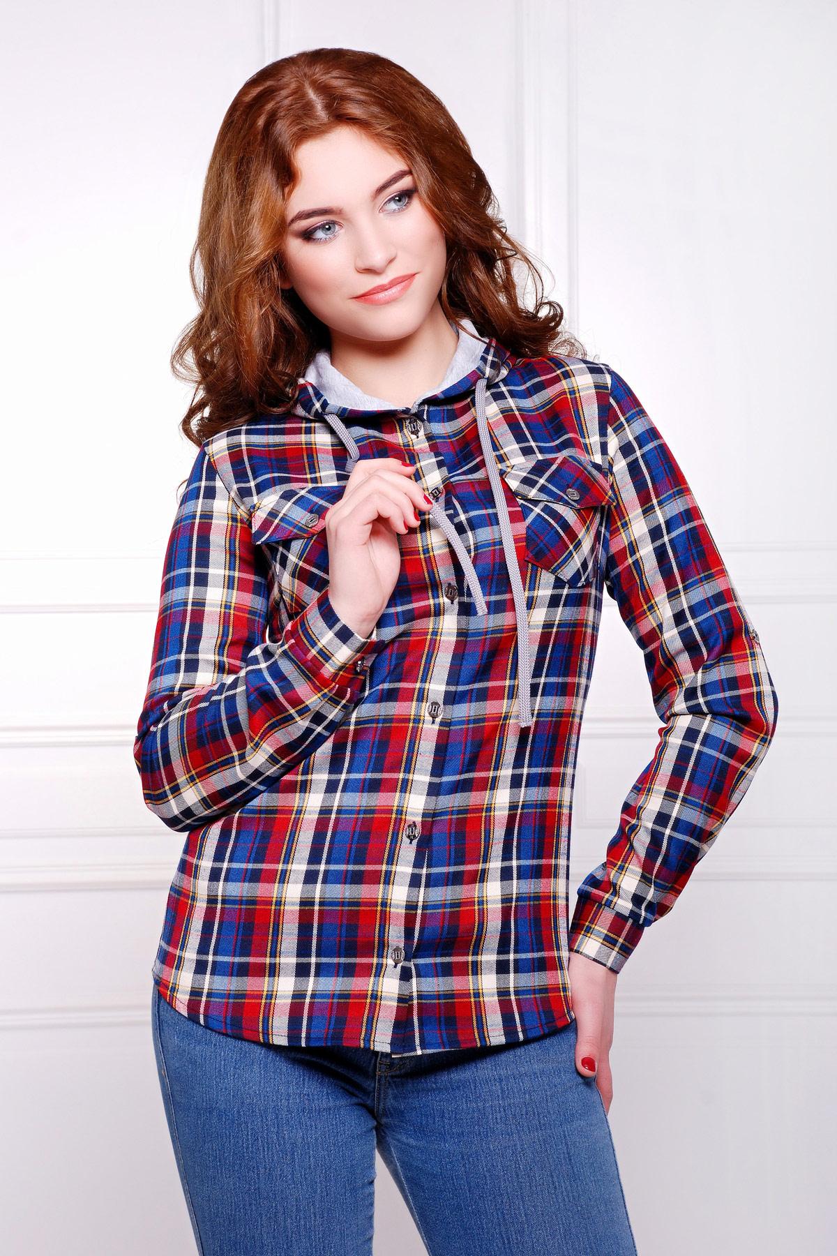 блуза Коломбо д/р. Цвет: т.синий-бордовый