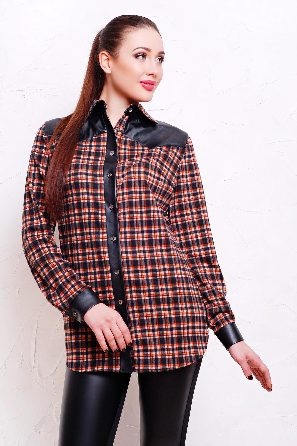 79636bd95f8 женская клетчатая рубашка с кожаными вставками. рубашка Аризона д р. Цвет   черн