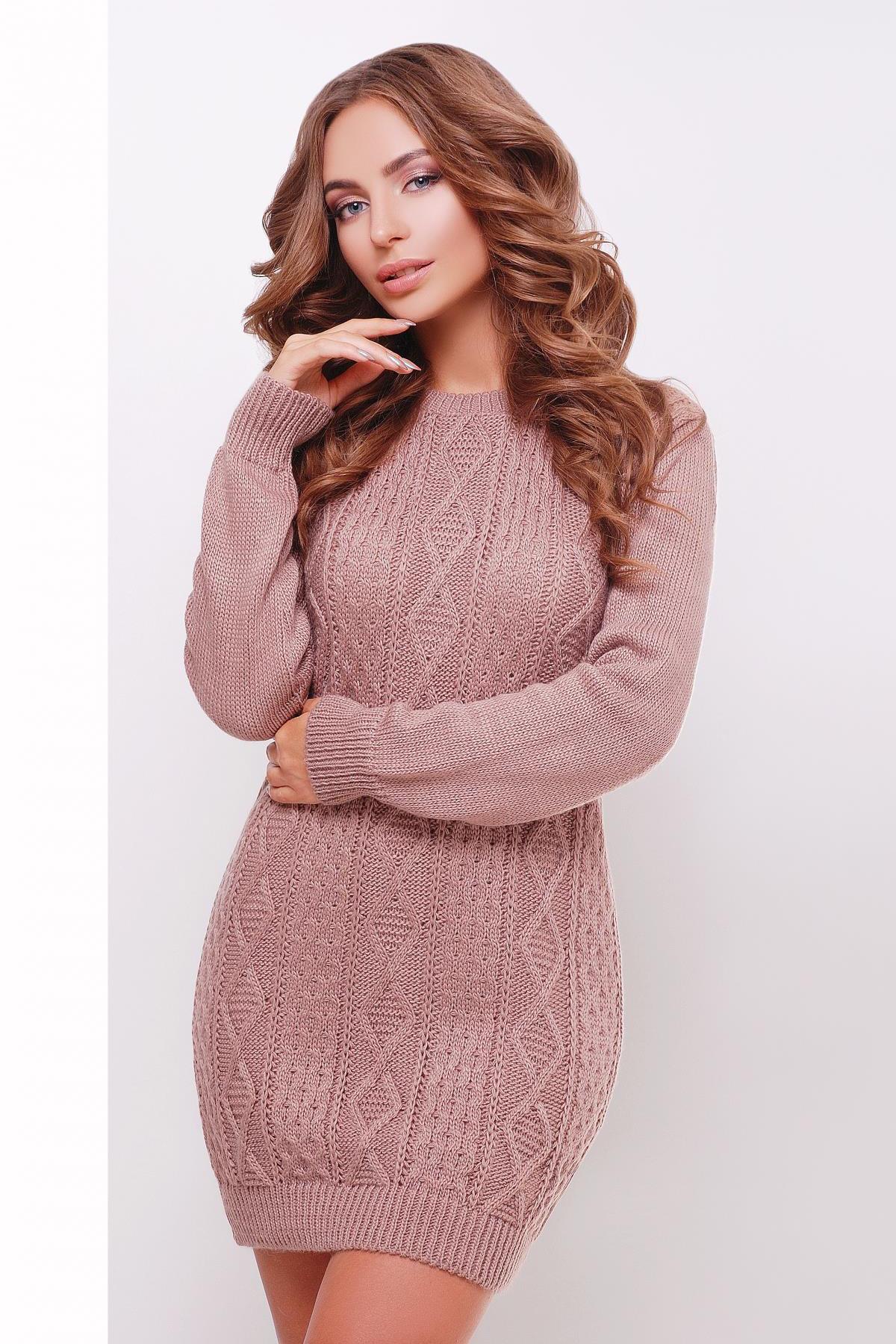 3483459d2d1a теплое вязаное платье туника. Платье-туника 143. Цвет  фрез