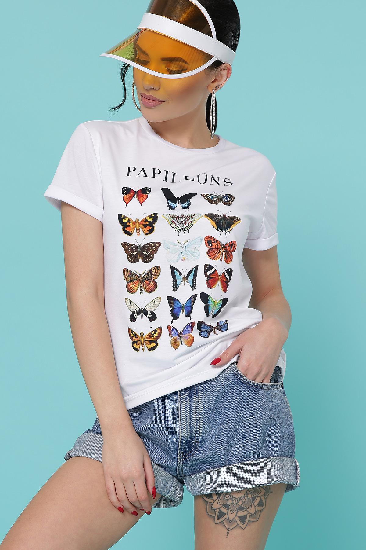 Бабочки футболка Boy-2. Цвет: белый