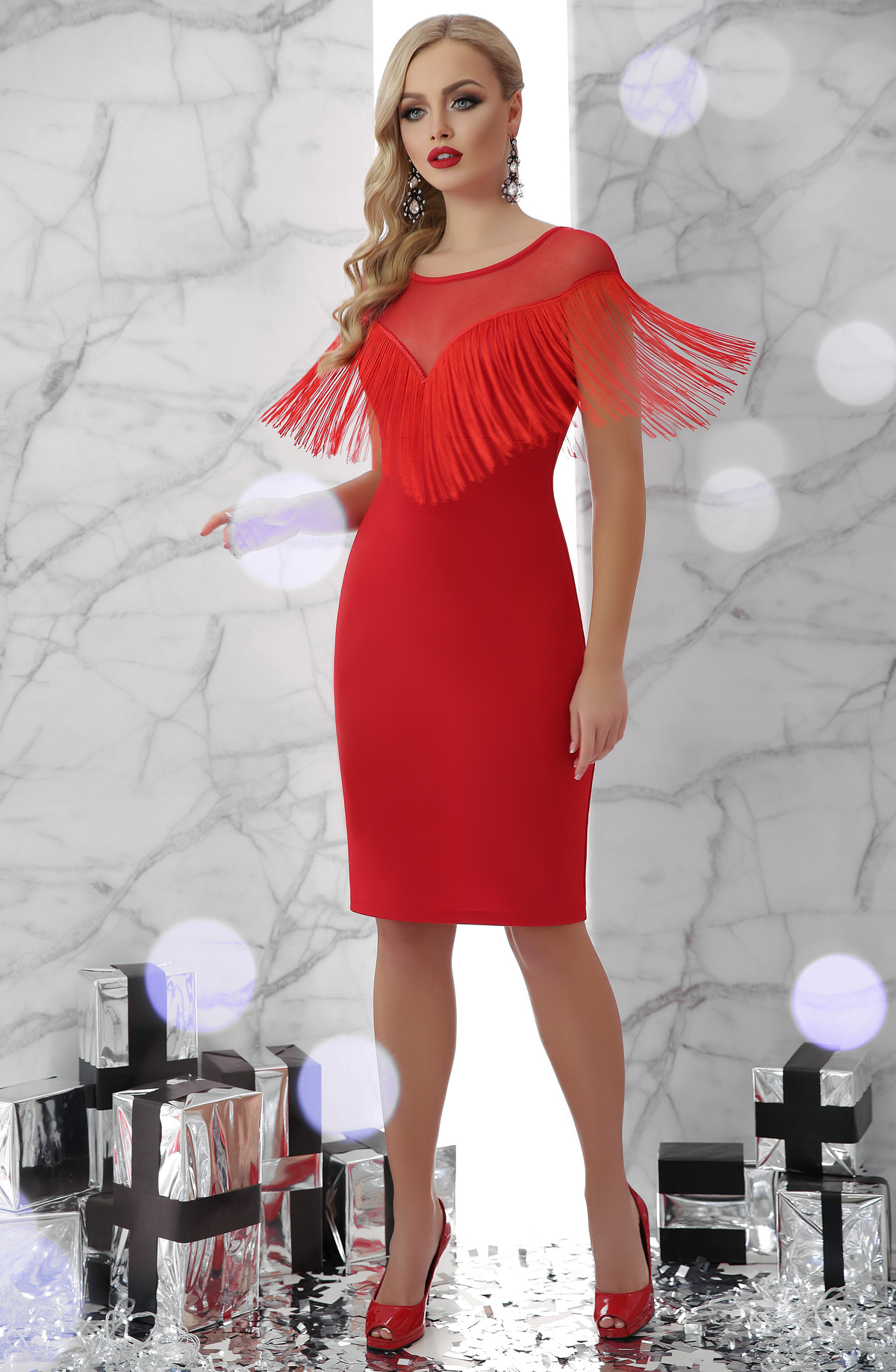 8022fbbbfc921da коктейльное платье с бахромой. платье Шерон б/р. Цвет: красный