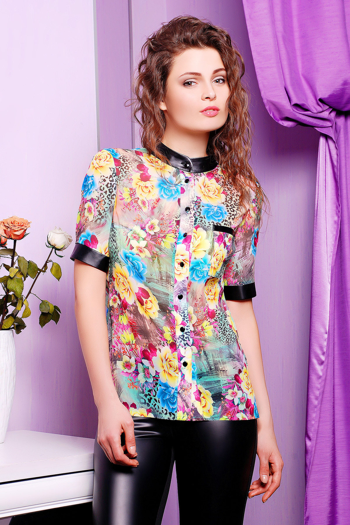 d0bde4e0e0e блузка из цветного шифона с коротким рукавом. блуза Микс к р. Цвет