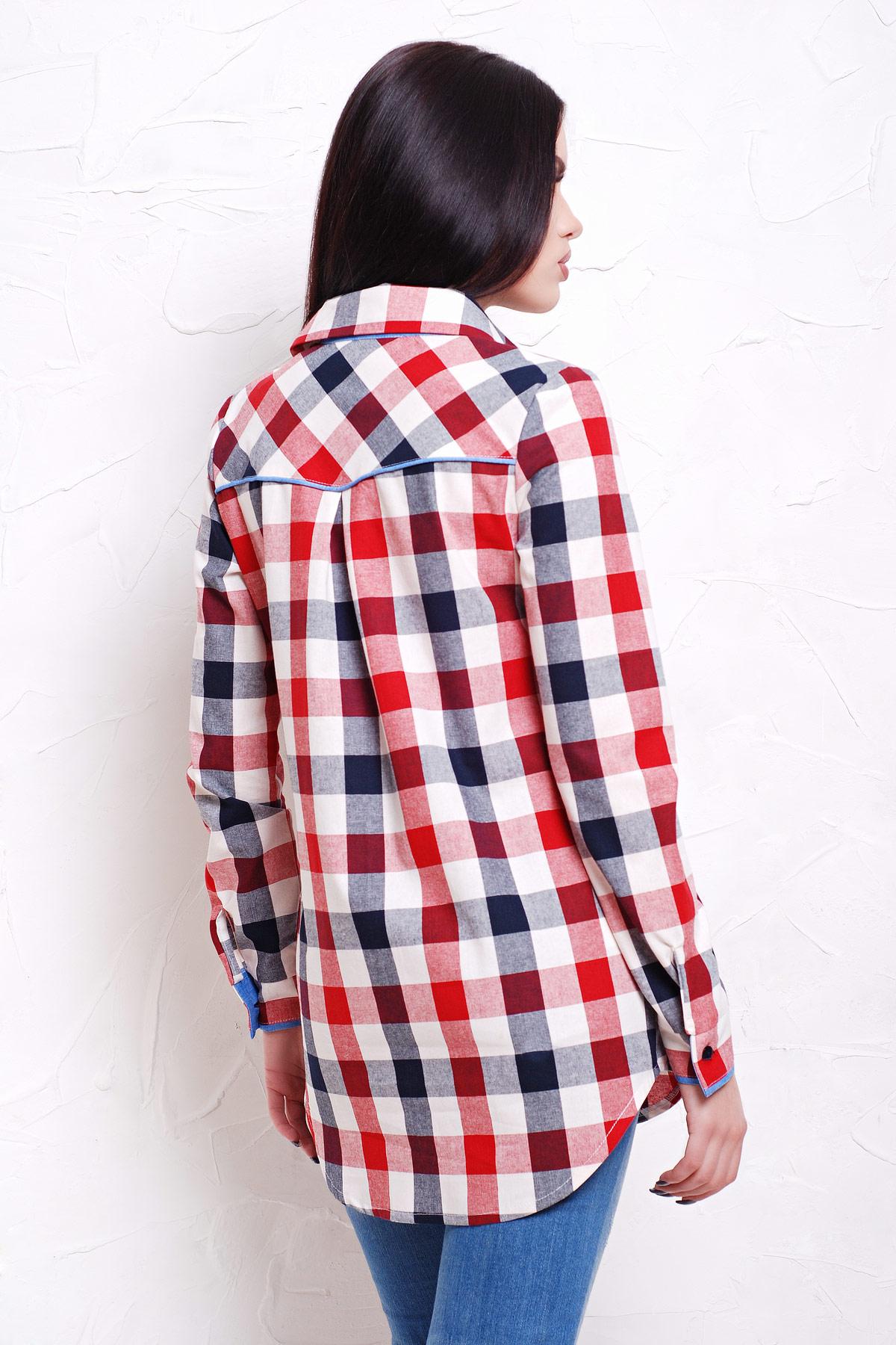 4db6d06fb16 Длинная женская рубашка в клетку. блуза Канзас д р. Цвет  красн.