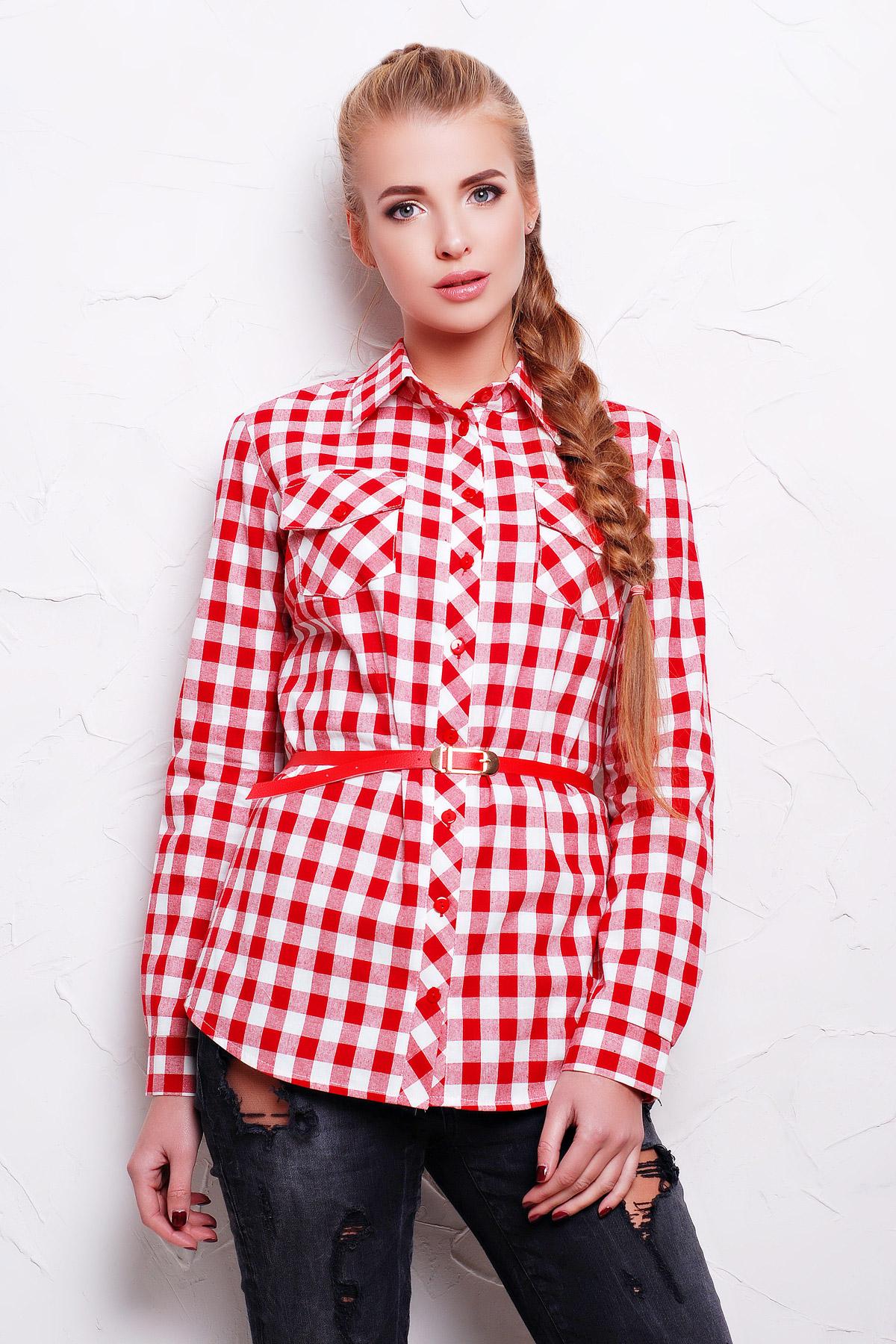 7fba0016512 женская рубашка в красную клетку. рубашка Техас2 д р. Цвет  красный-
