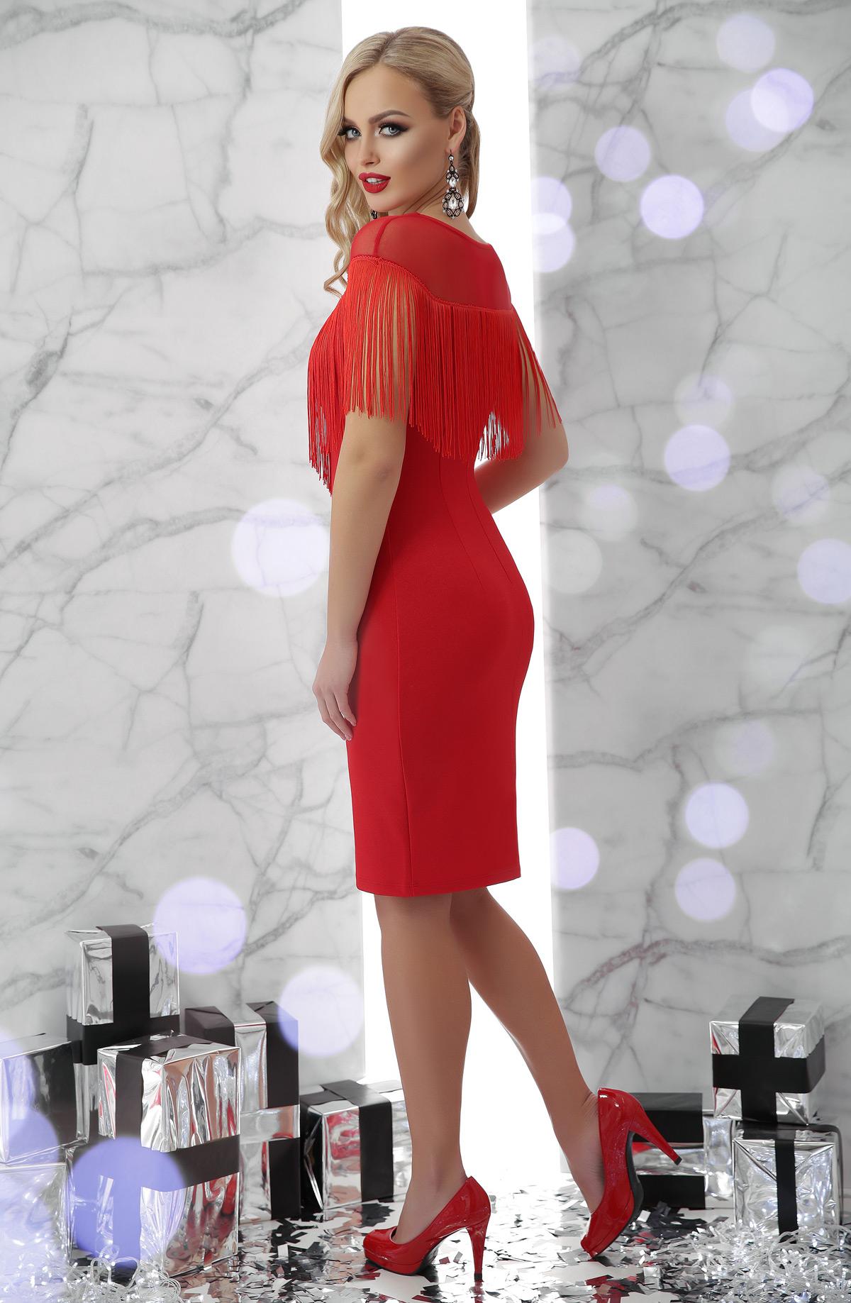 abc2bb78796d20a Цвет: красный купить; коктейльное платье с бахромой. платье Шерон б/р.  Цвет: красный цена