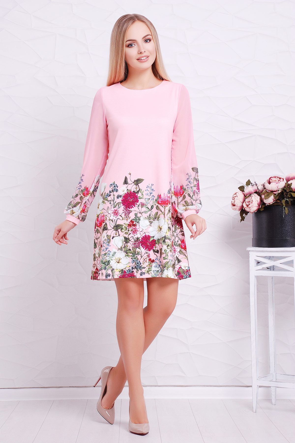 408c7715a9f2b61 розовое платье с шифоновыми рукавами. Букет розовый платье Тана-1Ф (шифон) д