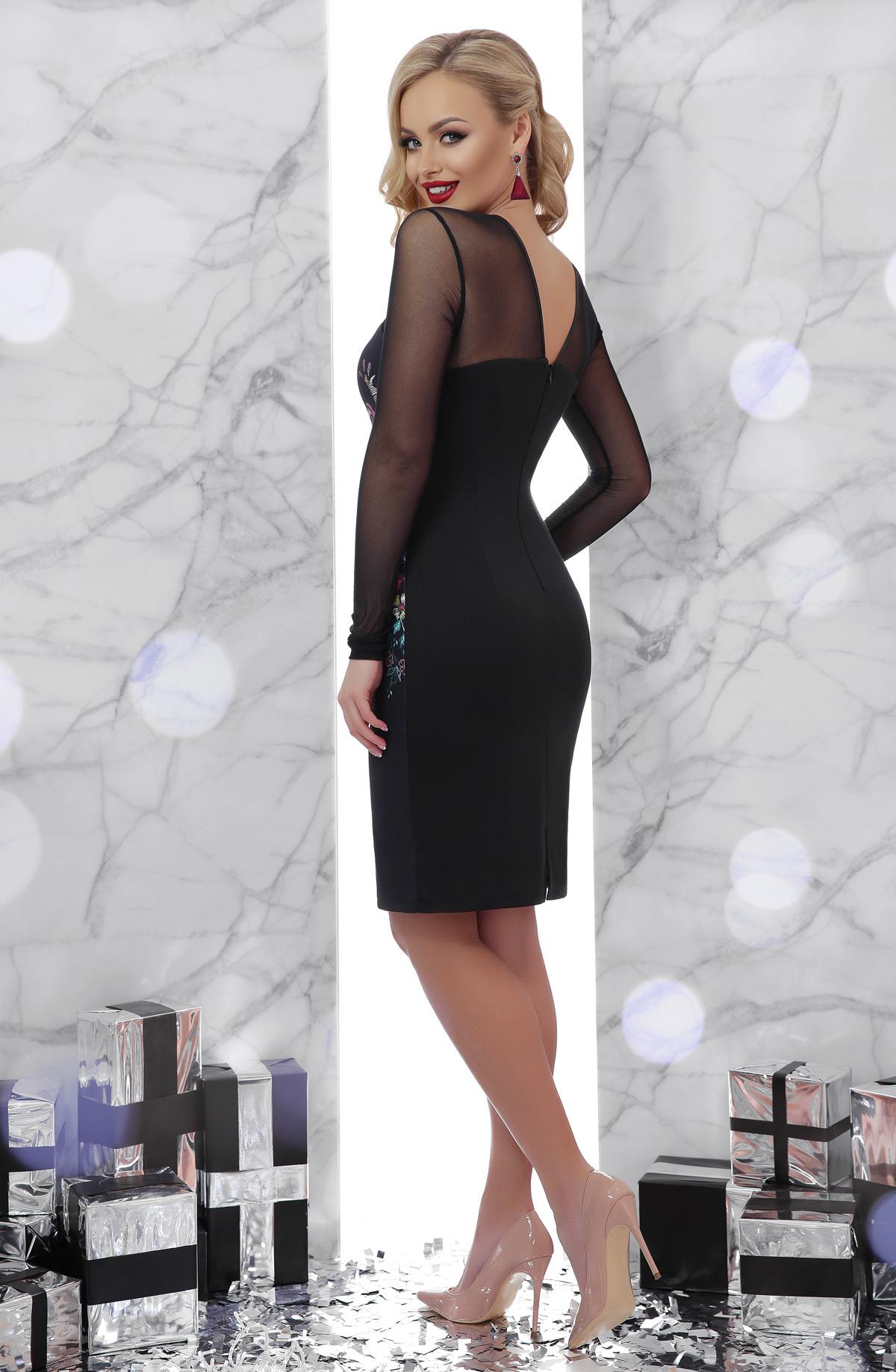 1fc73d8cb1b Черное платье с рукавами из сетки. Вышивка платье Донна2 д р. Цвет ...