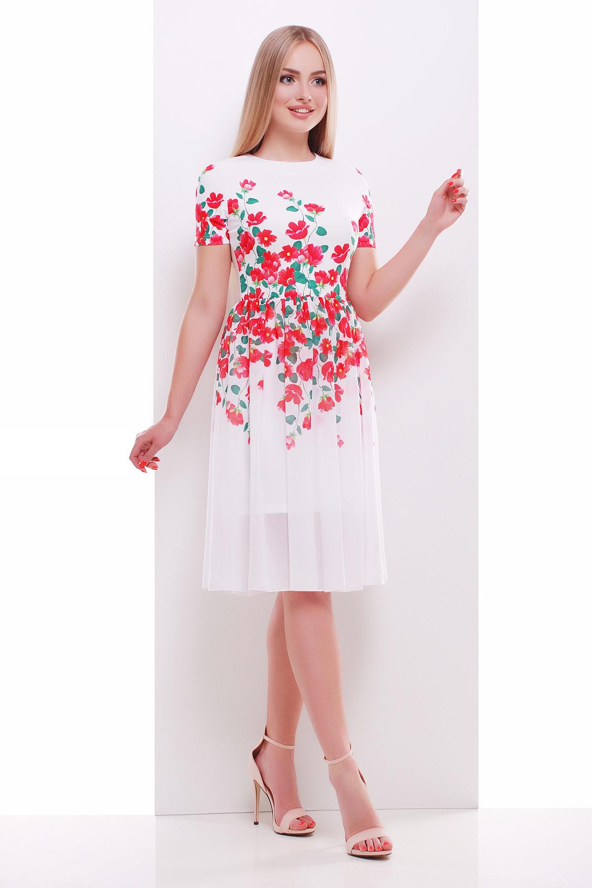 a6c8ec43733 белое платье с красными цветами. Красные цветы платье Мияна-КД к р. ...