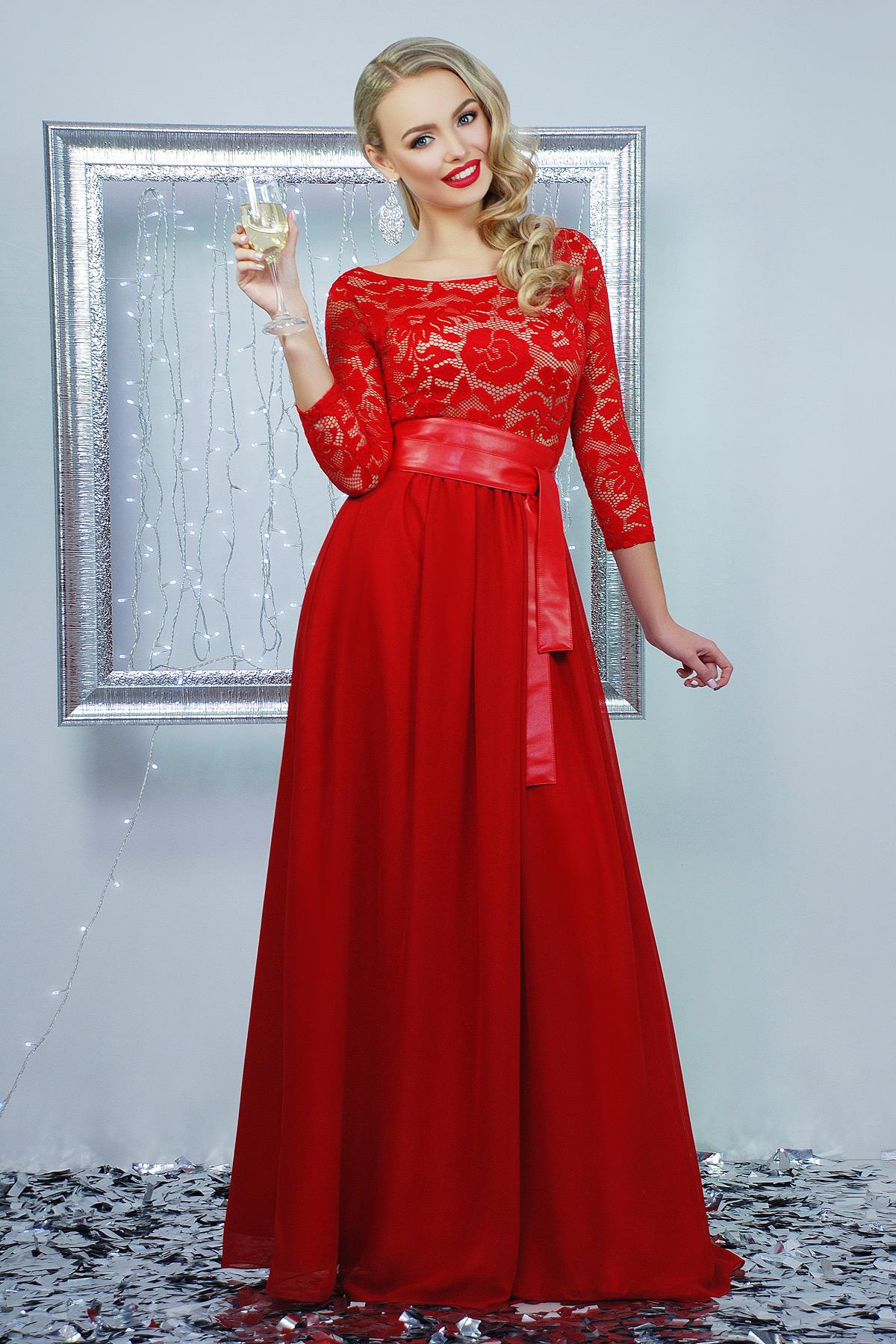 dd428ea536456c3 вечернее красное платье в пол. платье Марианна д/р. Цвет: красный