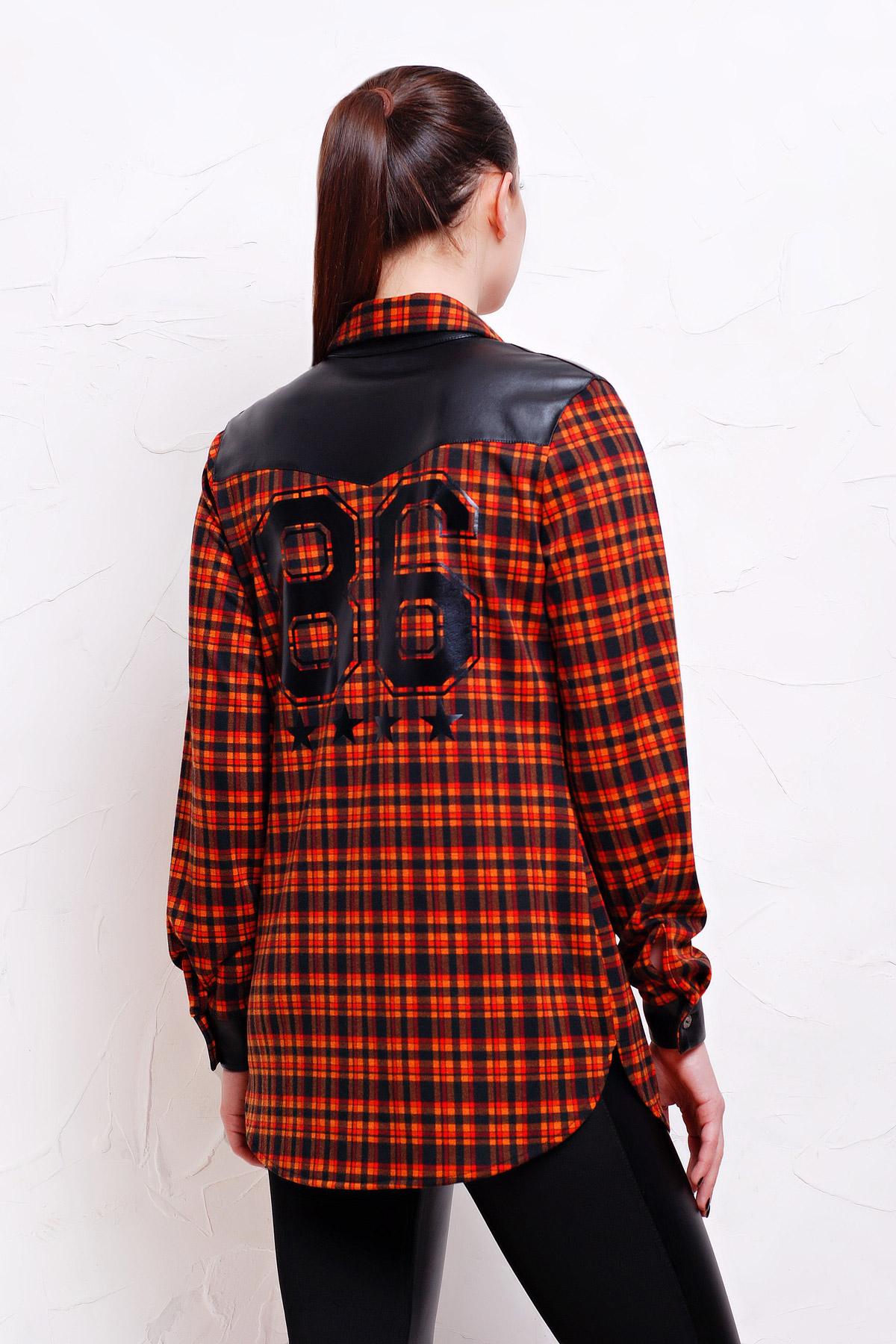 cd08c7bb440 женская клетчатая рубашка с кожаными вставками. рубашка Аризона д р. Цвет   черн