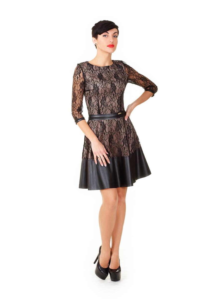 de0b80c2198 Платье Лючия д р. Цвет  бежевый-черный гипюр - купить оптом и в ...