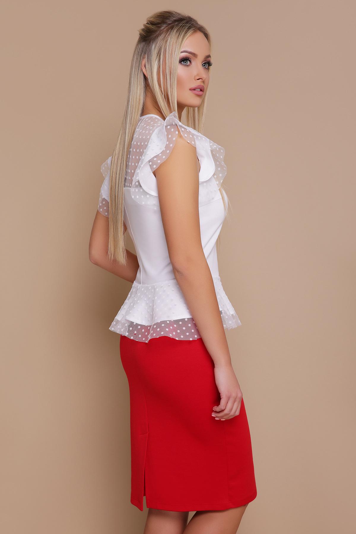c389aa920f4 черная блузка с баской. блуза Лайза б р. Цвет  белый купить