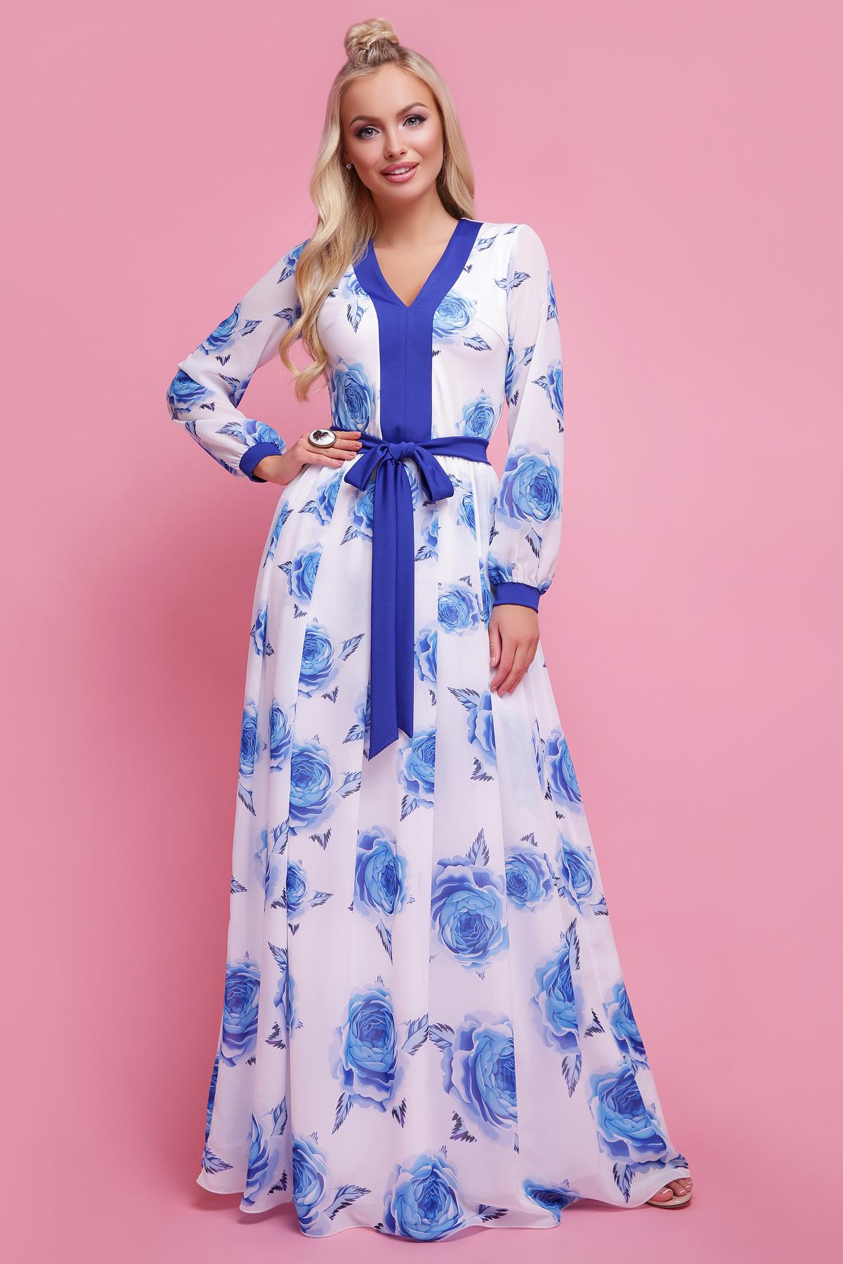 Роза синий платье Каролина д/р