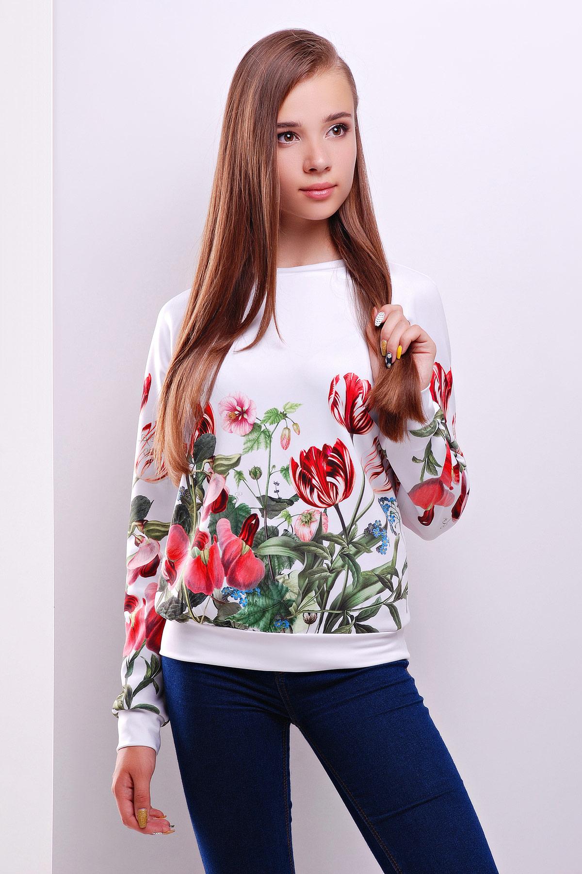 97fec57e9cddd Женский белый свитшот, принтованный тюльпанами. Тюльпан кофта Свитшот  Реглан1 (весна) д/