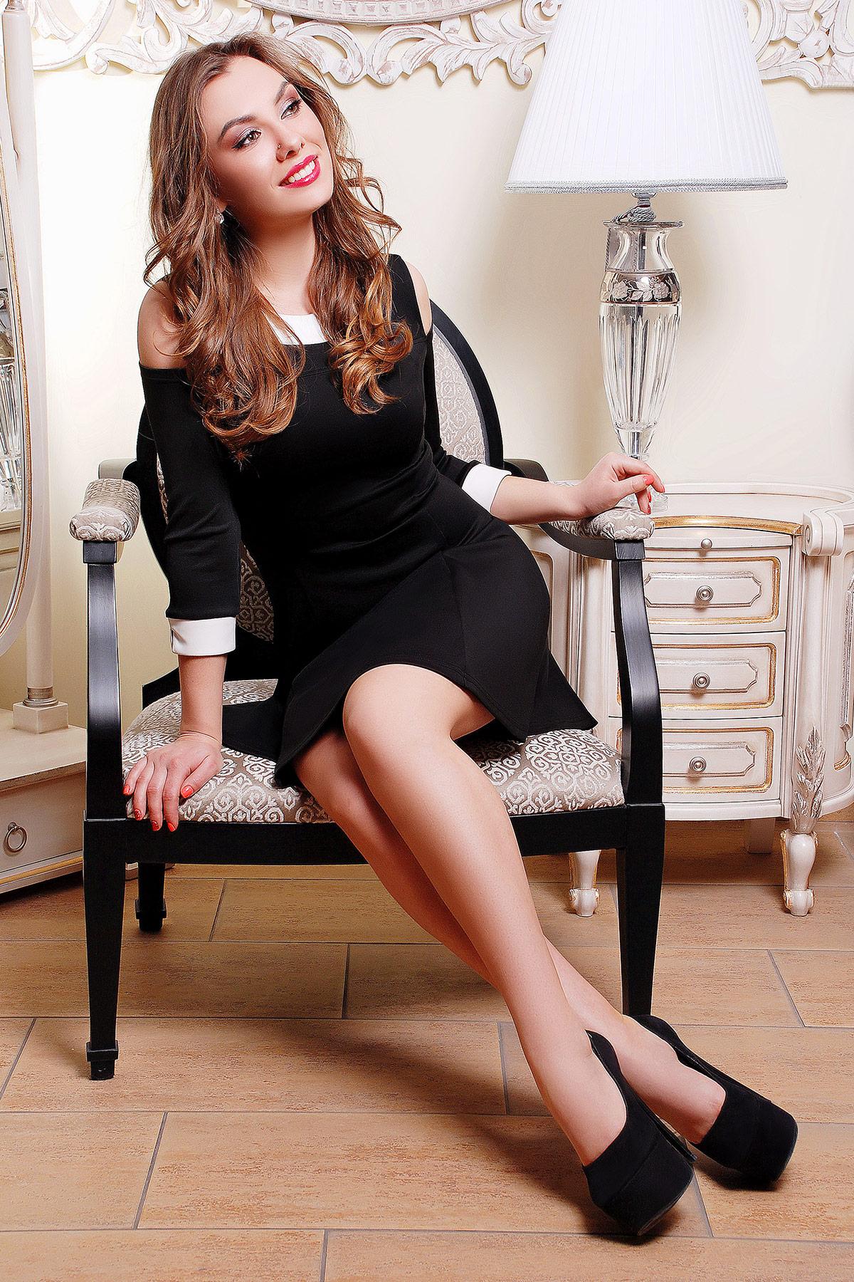 fcc5a208aa6 Короткое черное женское платье с белым воротником и манжетами. платье Яна  д р.