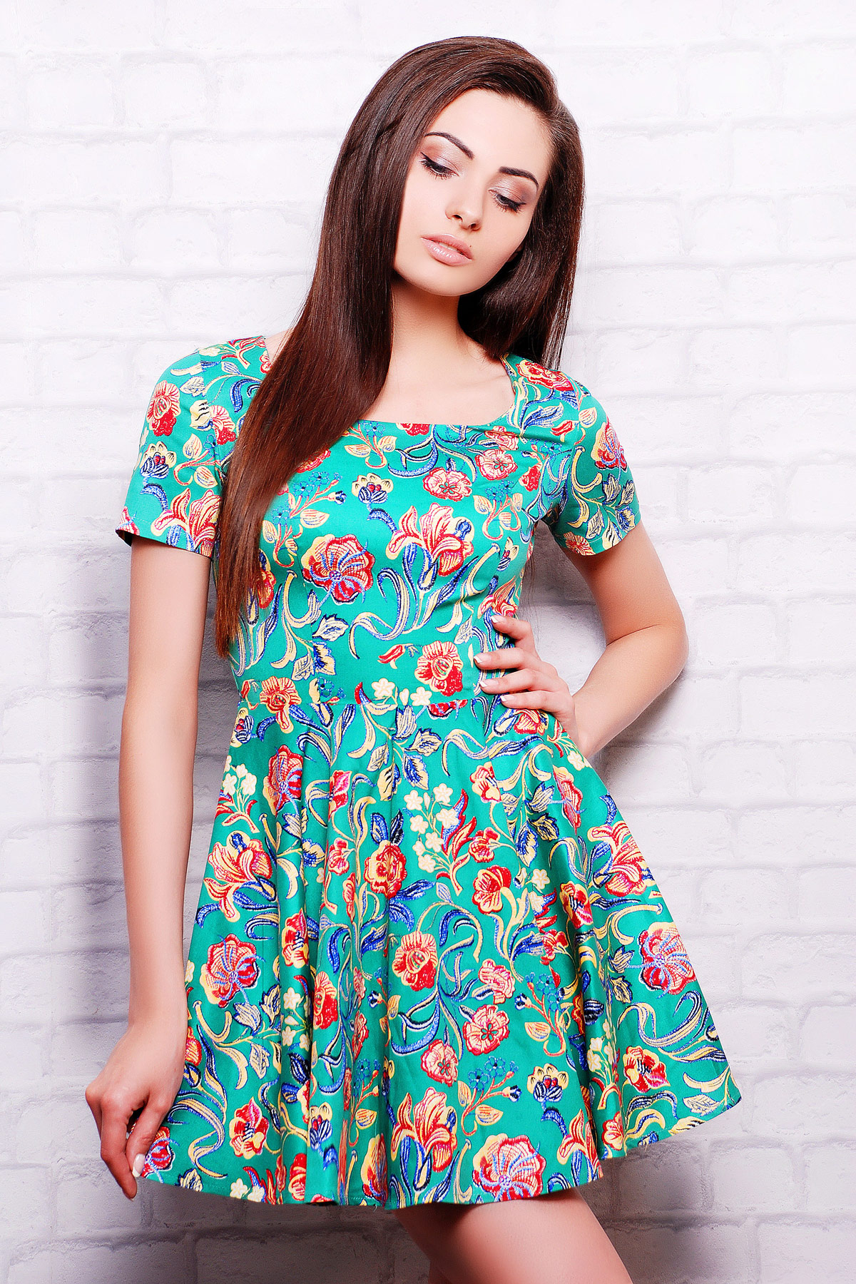965cc43f59f зеленое платье с цветами. платье Милава2 к р. Цвет  зеленый-цветы