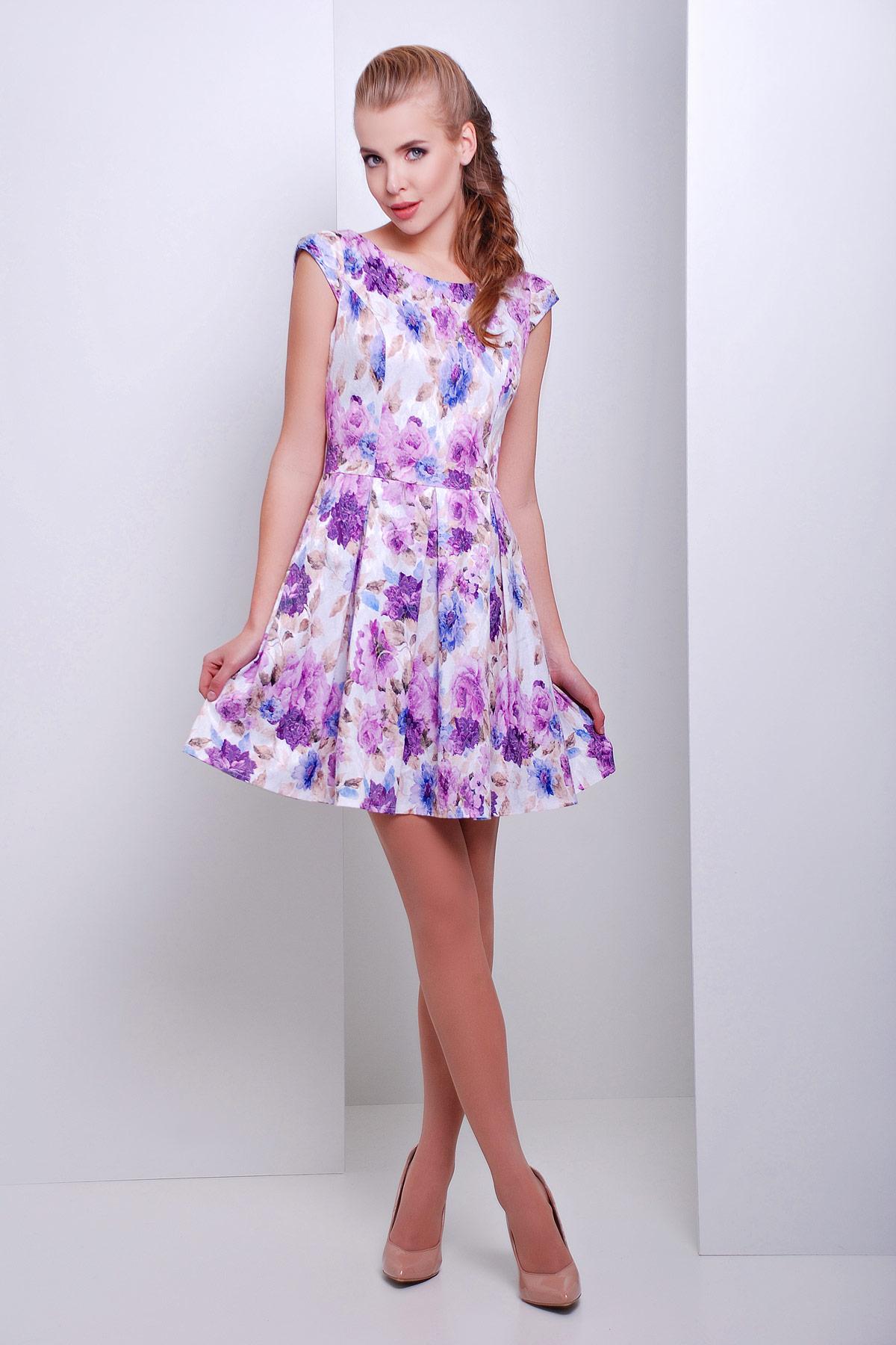 платье Анабель б/р. Цвет: белый-фиолет.цветы