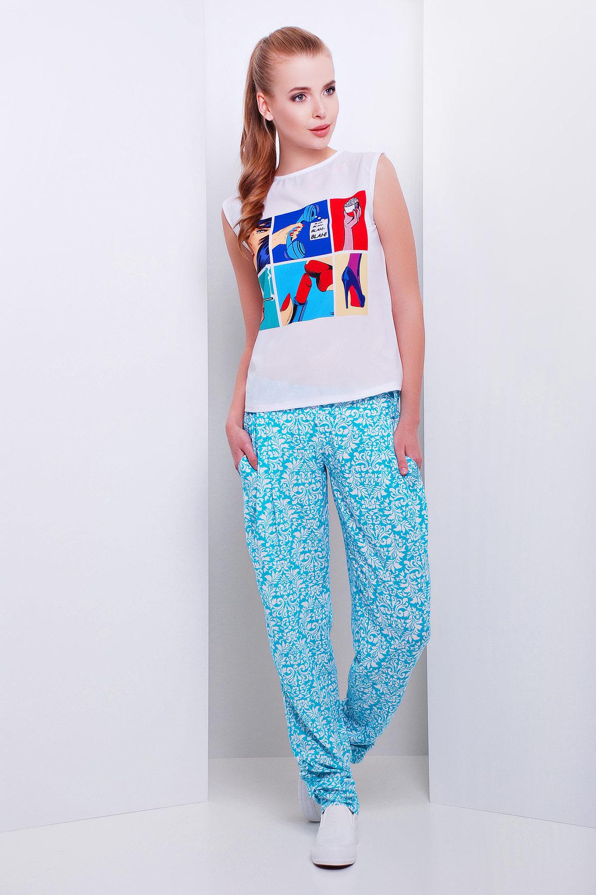 4ba67769cc5 Купить летние голубые женские брюки-бананы из штапеля