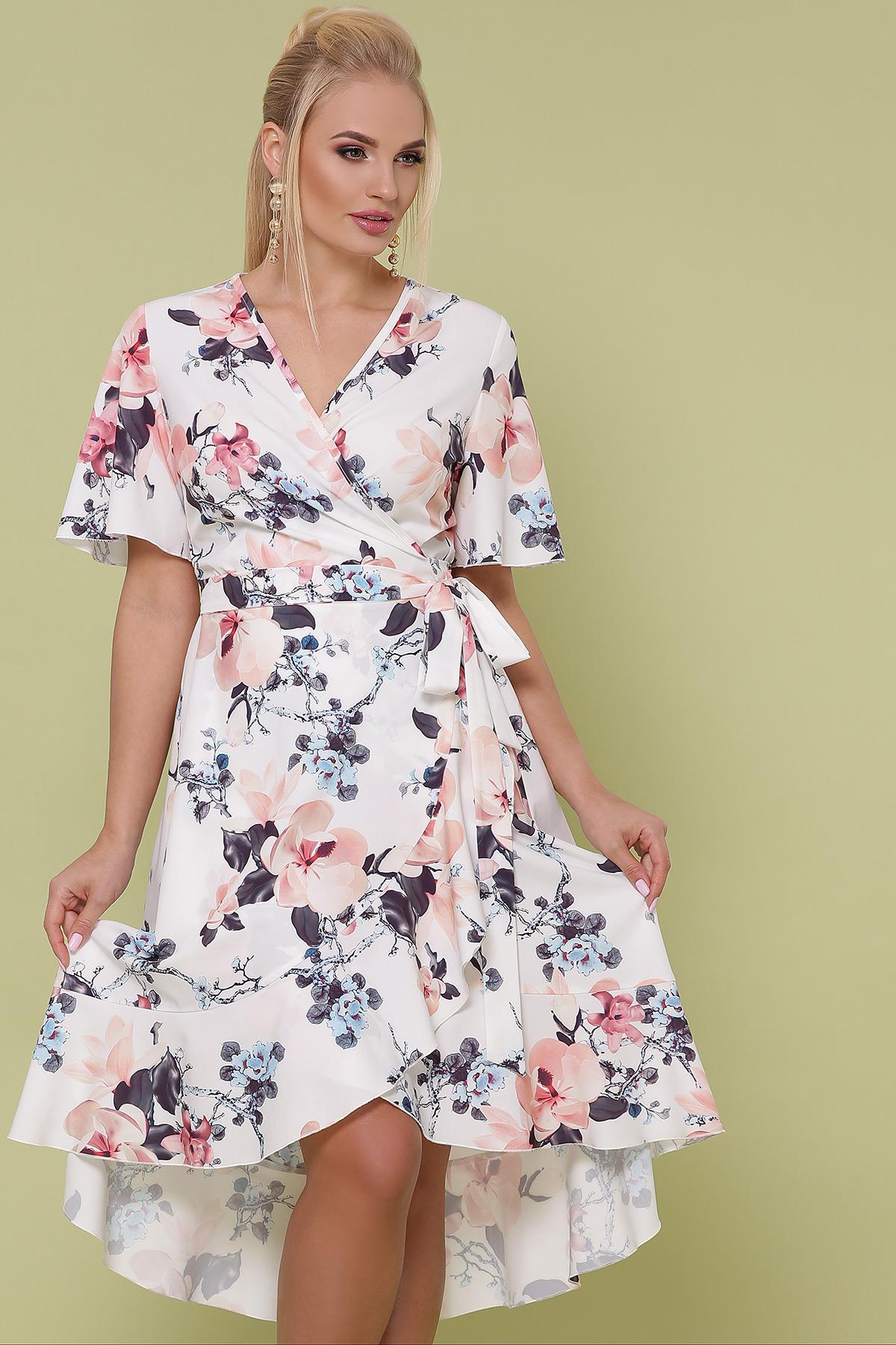 платье Алесия-Б к/р. Цвет: молоко-крупный цветок