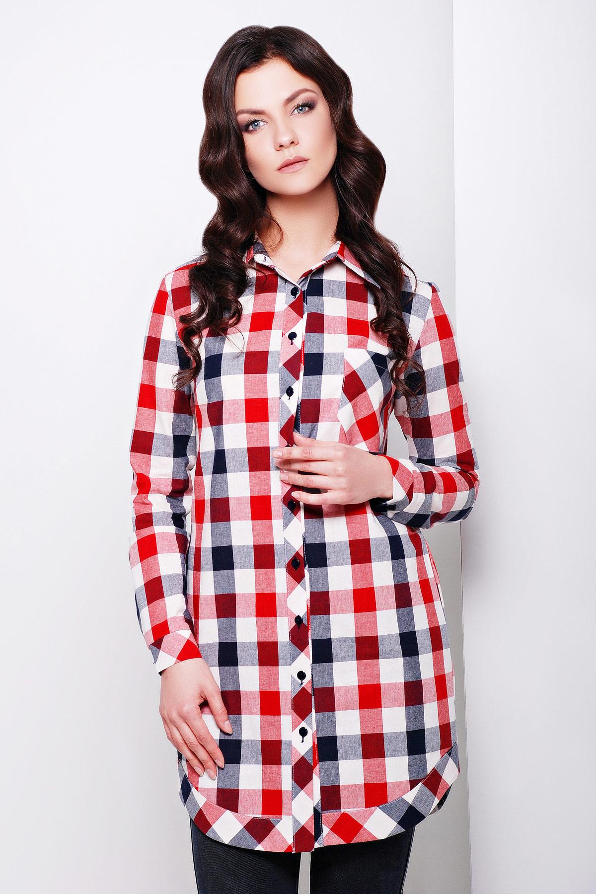 8a7dfe66f24 удлиненная красная фланелевая рубашка в клетку. рубашка Флорида д р. Цвет   красный