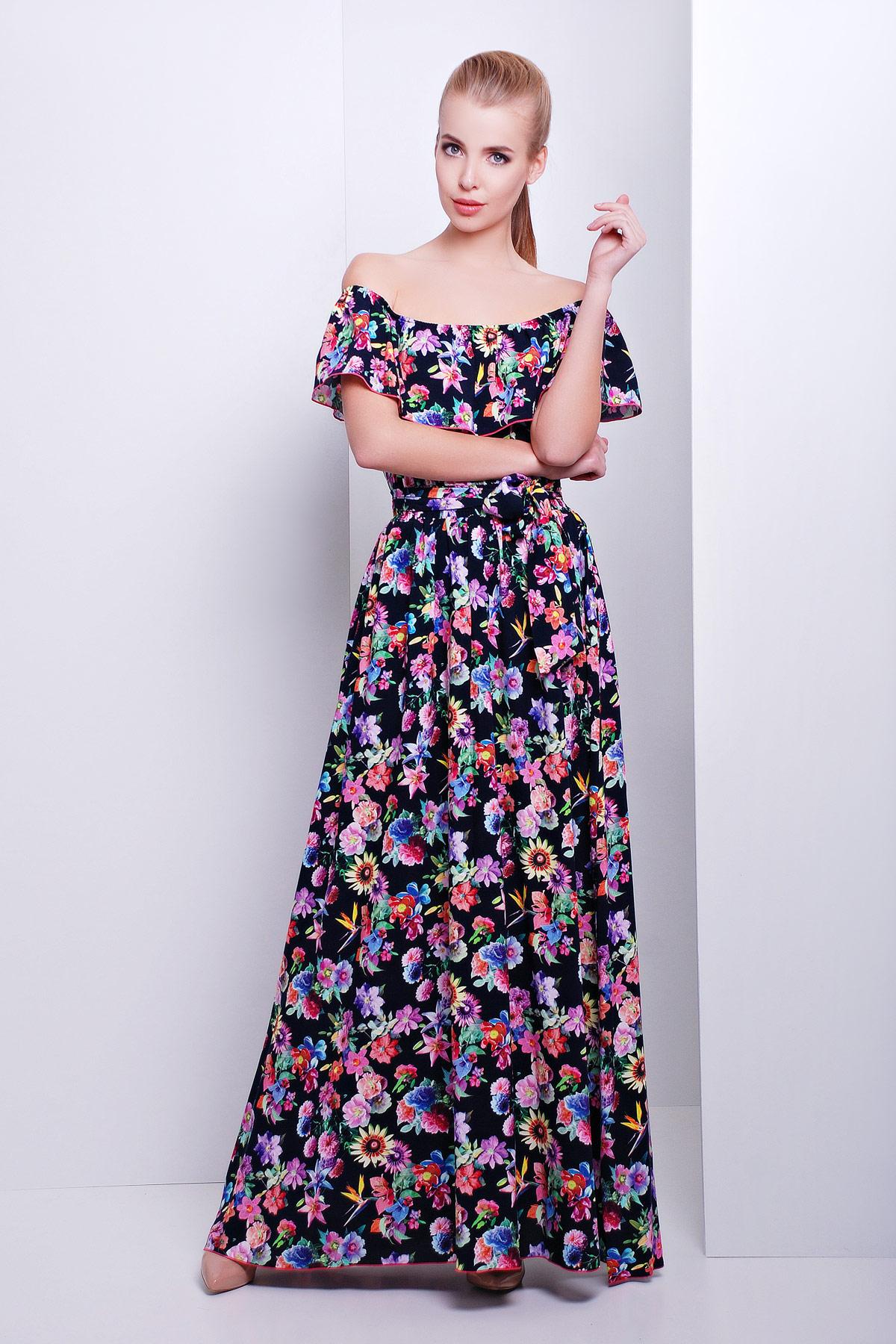 6f9369271a4 красный женский сарафан макси с цветочным принтом. сарафан Ждана. Цвет   т.синий