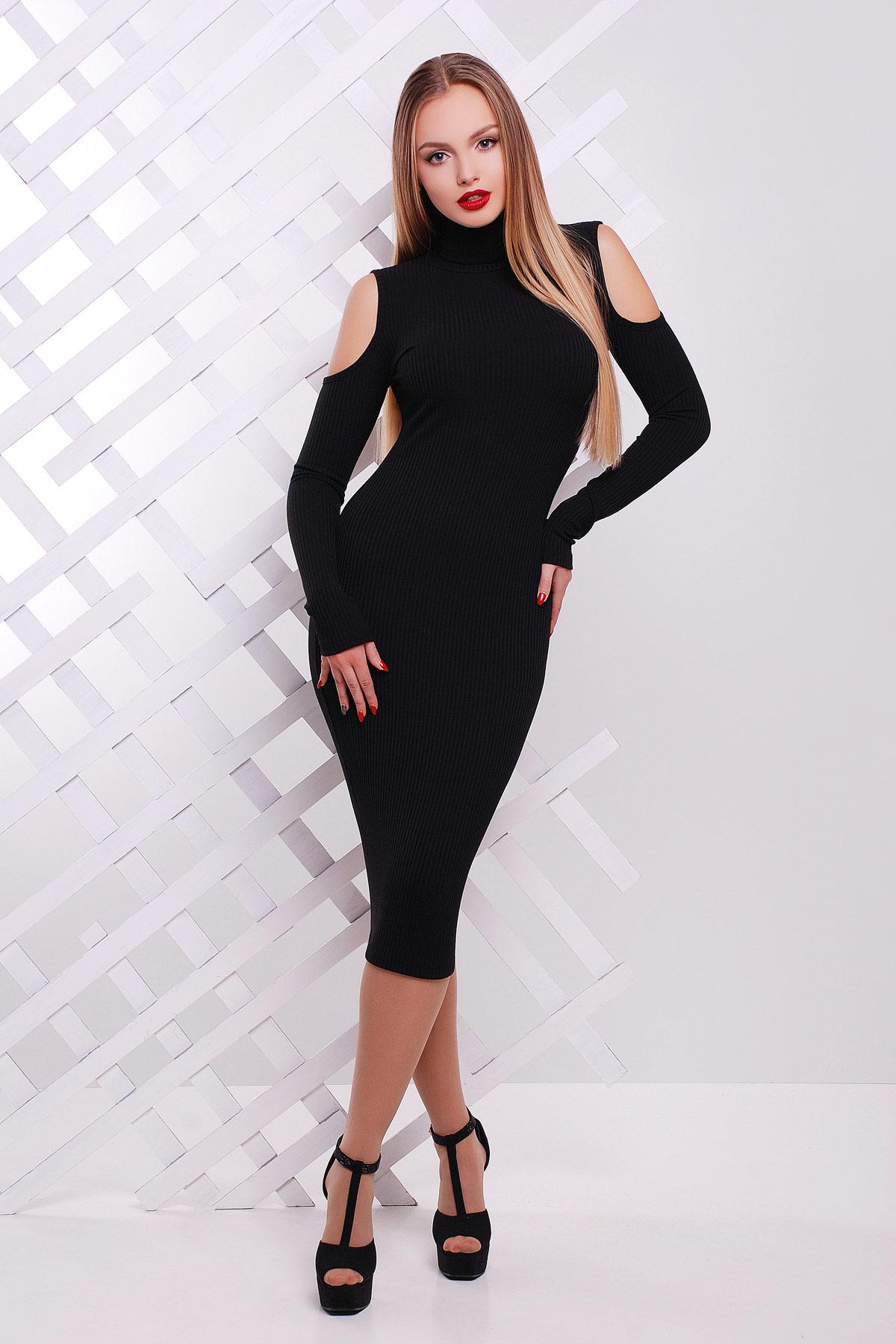 1f167eff8d13eee обтягивающее черное платье-резинка. платье Резинка д/р. Цвет: черный
