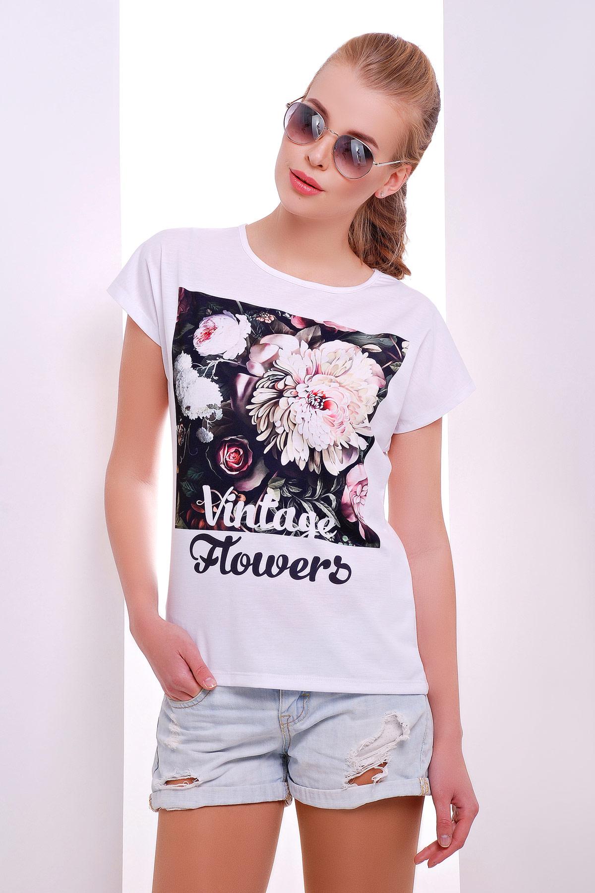 1465bf9ff08bf белая женская футболка с цветочным принтом. Vintage букет футболка Кимоно.  Цвет: принт