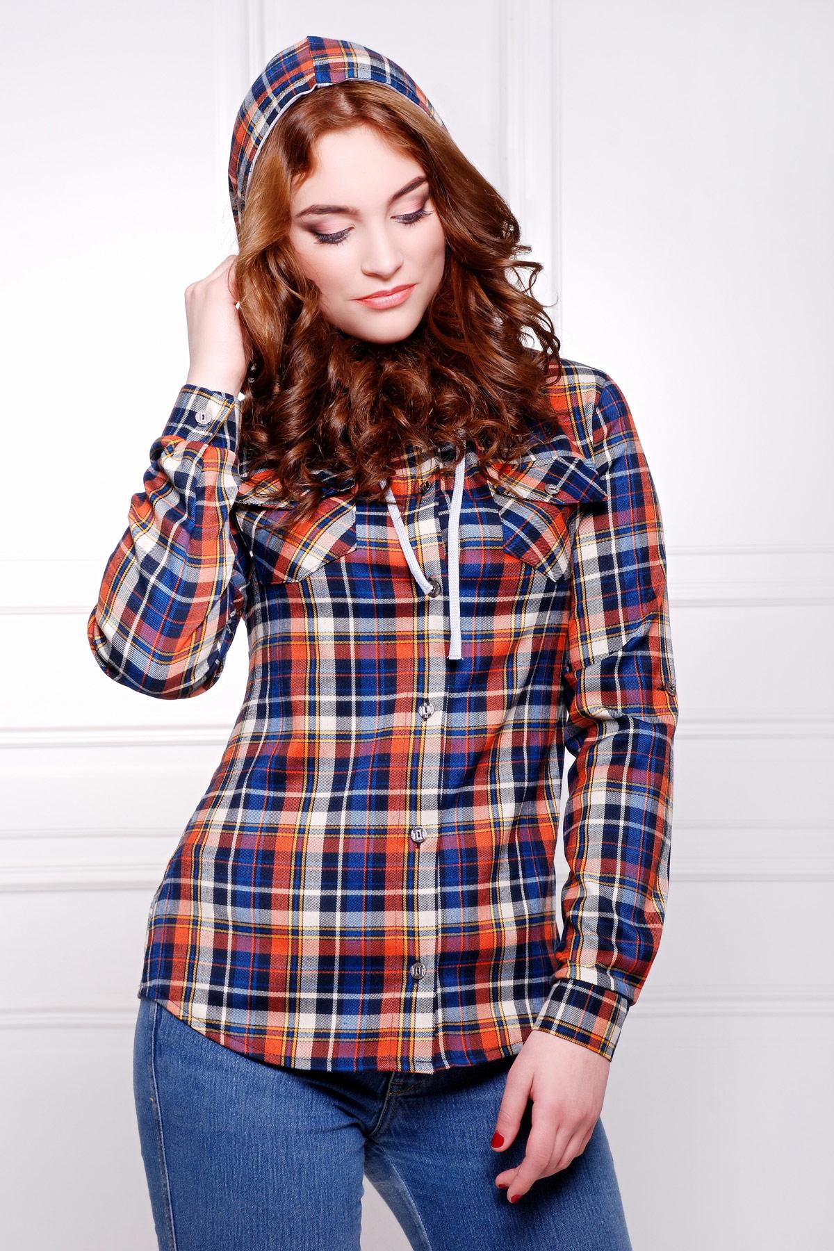 блуза Коломбо д/р. Цвет: т.синий-оранжевый