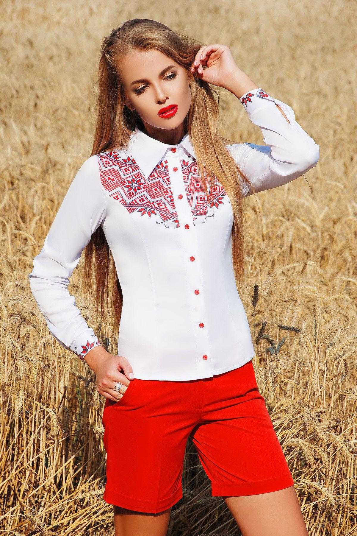 7783acd29cfe6b5 Белая блузка с украинским принтом. Узор К3 блуза Марта 2Н д/р. Цвет