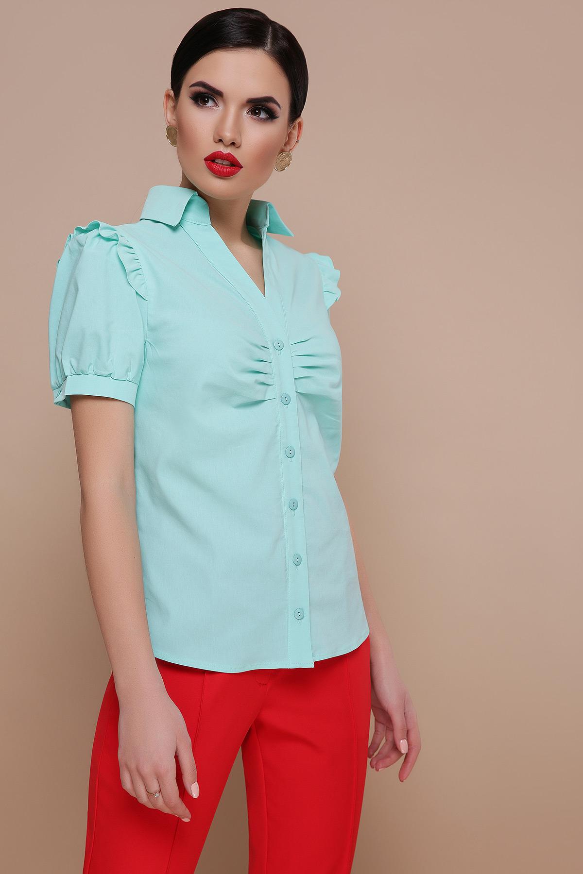 fd9facd0ba5 голубая блузка с рюшами. блуза Маргарита к р. Цвет  мята купить ...