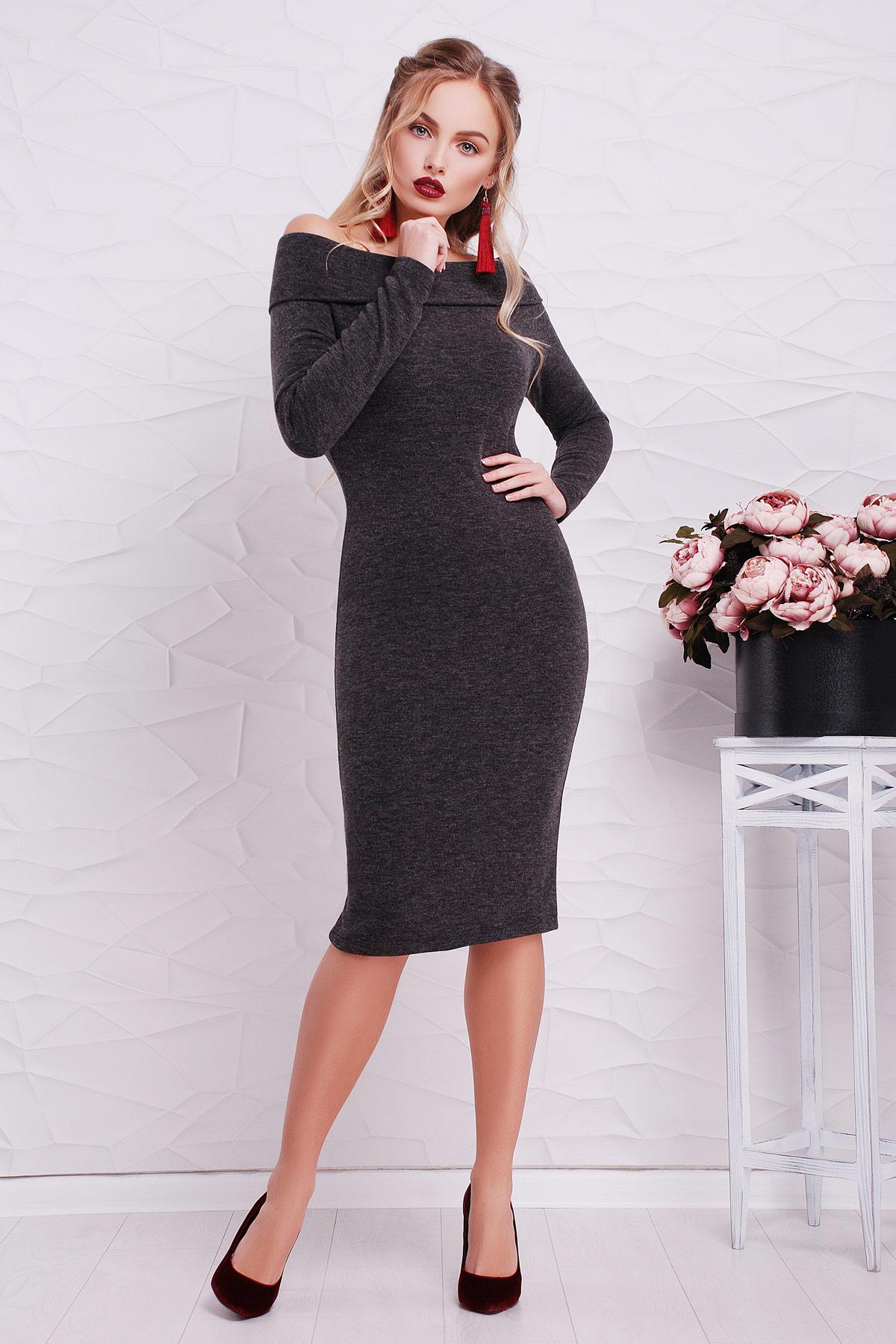 e2a329e25f9fd65 Облегающее платье черного цвета из трикотажа ангора. платье Гвинея д/р. Цвет :