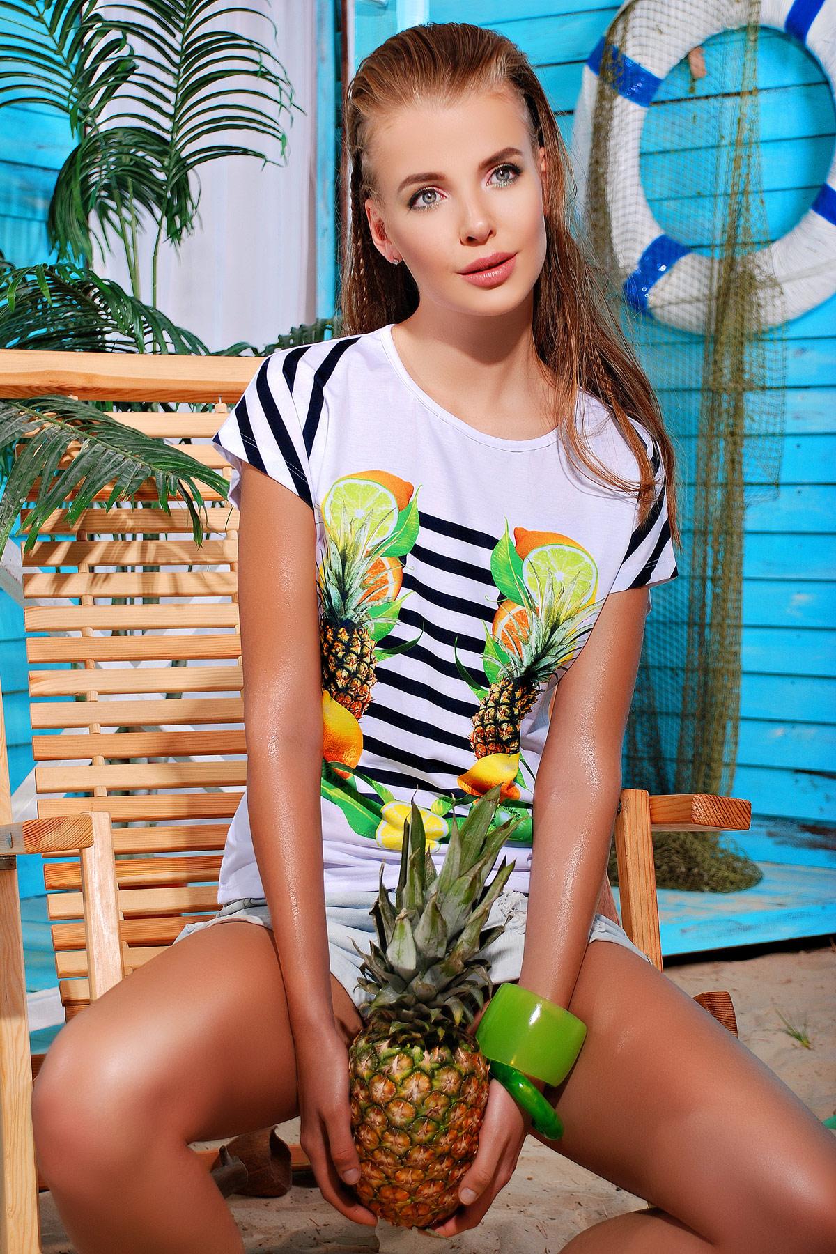 Фрукты-полоска футболка Кимоно-Б. Цвет: принт